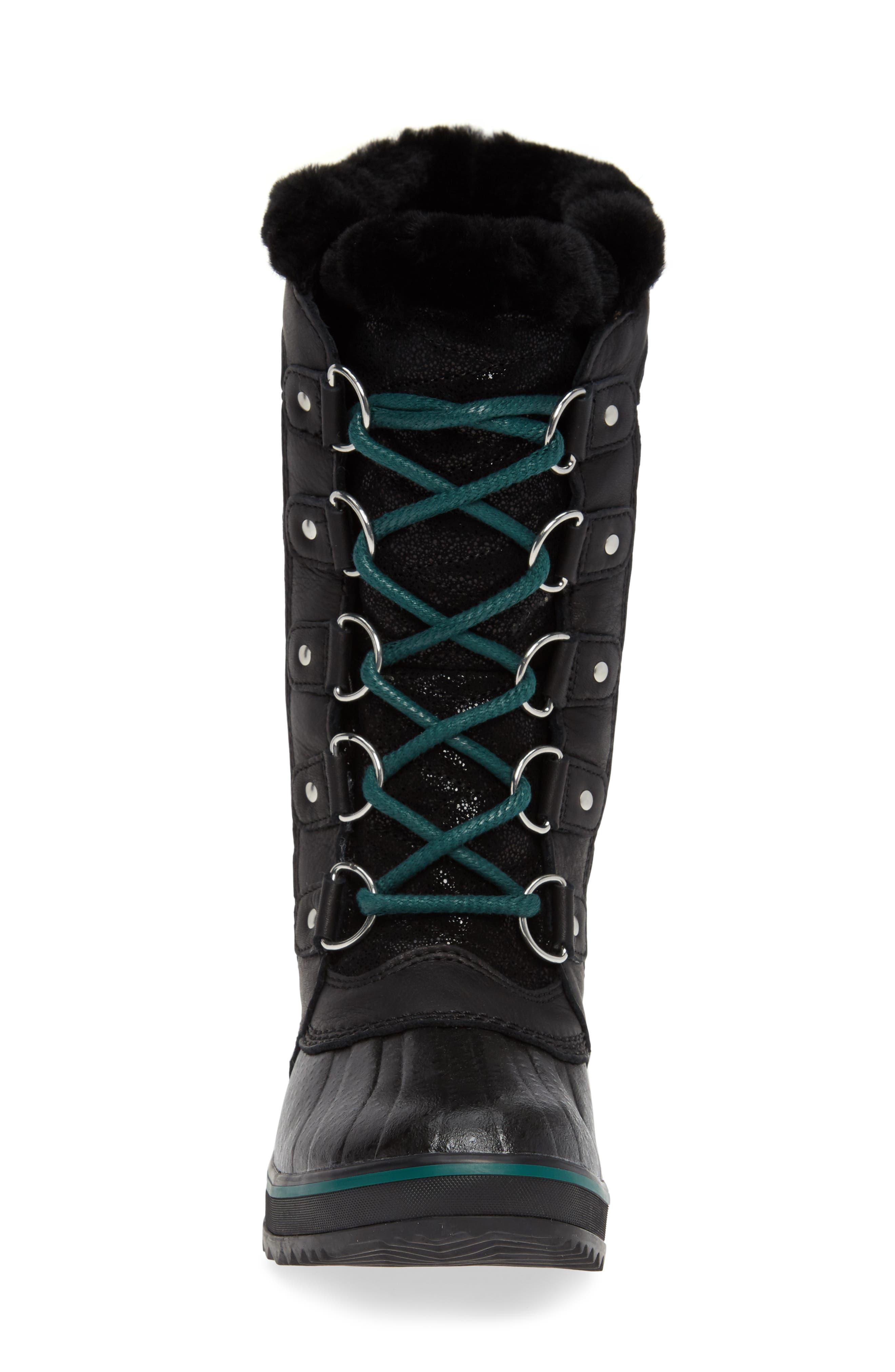 Tofino Faux Fur & Genuine Shearling Lined Waterproof Boot,                             Alternate thumbnail 4, color,                             BLACK