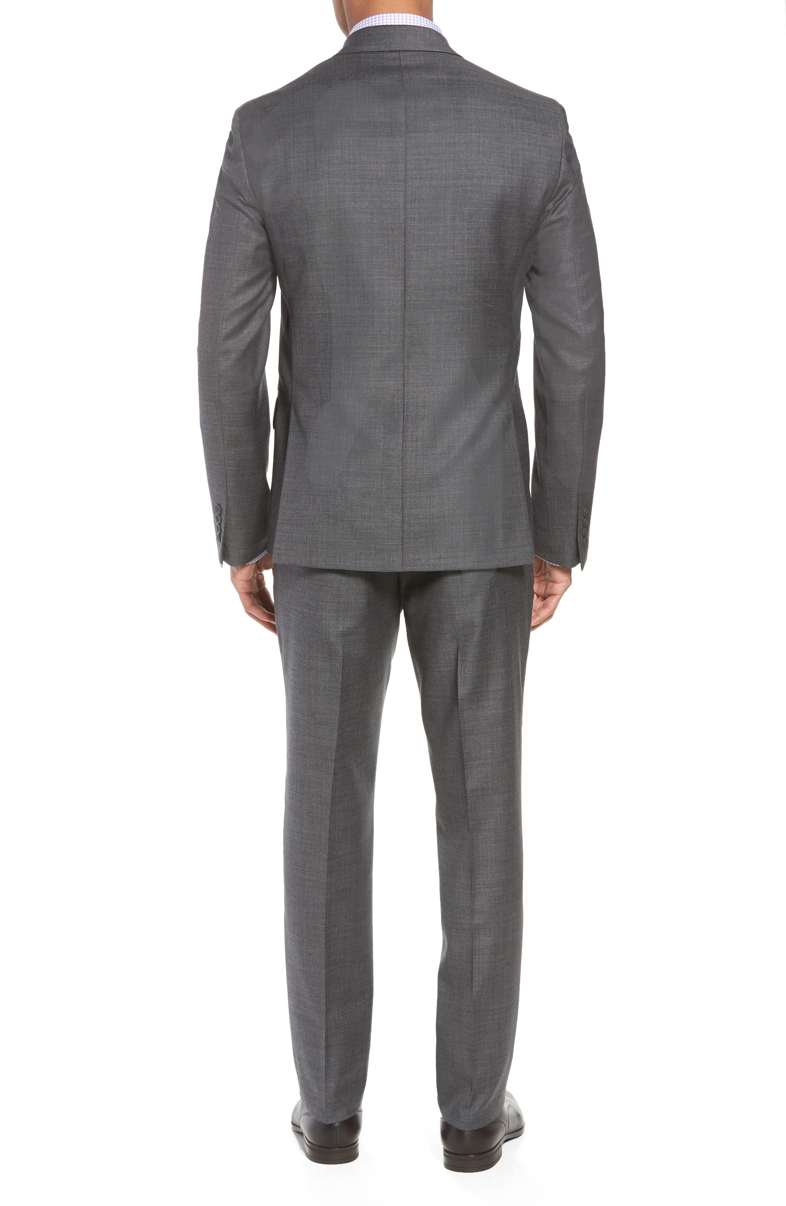Trim Fit Sharkskin Wool Suit,                             Alternate thumbnail 2, color,                             MID GREY