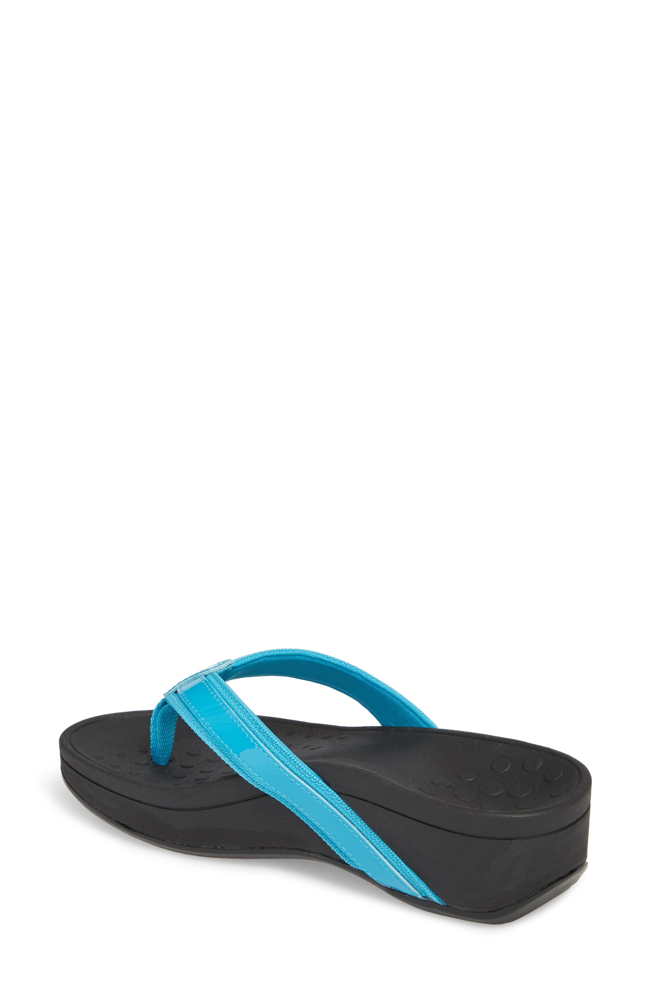 High Tide Wedge Flip Flop,                             Alternate thumbnail 2, color,                             TURQUOISE LEATHER