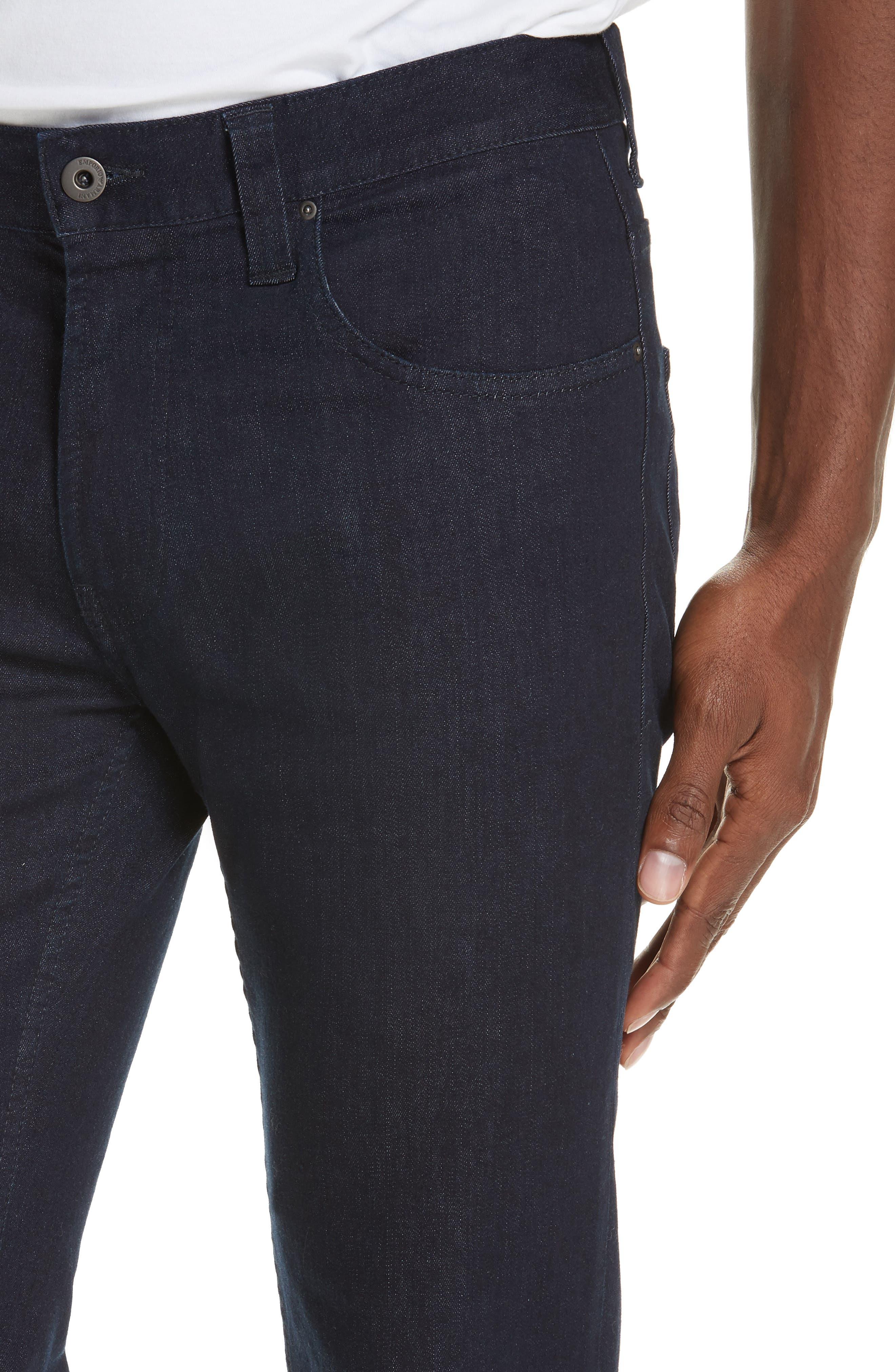 Straight Leg Stretch Jeans,                             Alternate thumbnail 4, color,                             DARK BLUE