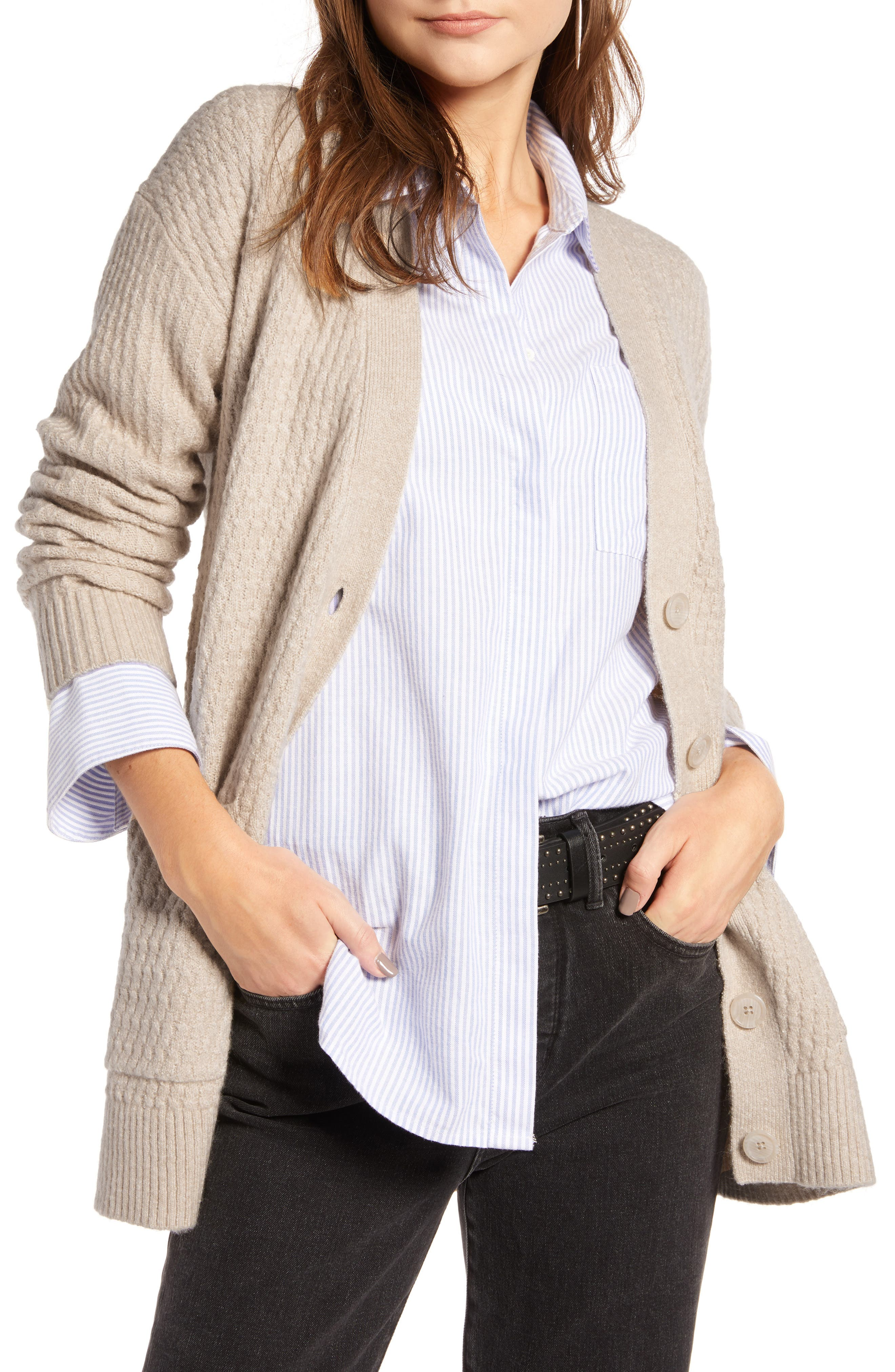 Textured Cardigan,                             Main thumbnail 1, color,                             BEIGE OATMEAL MEDIUM HEATHER