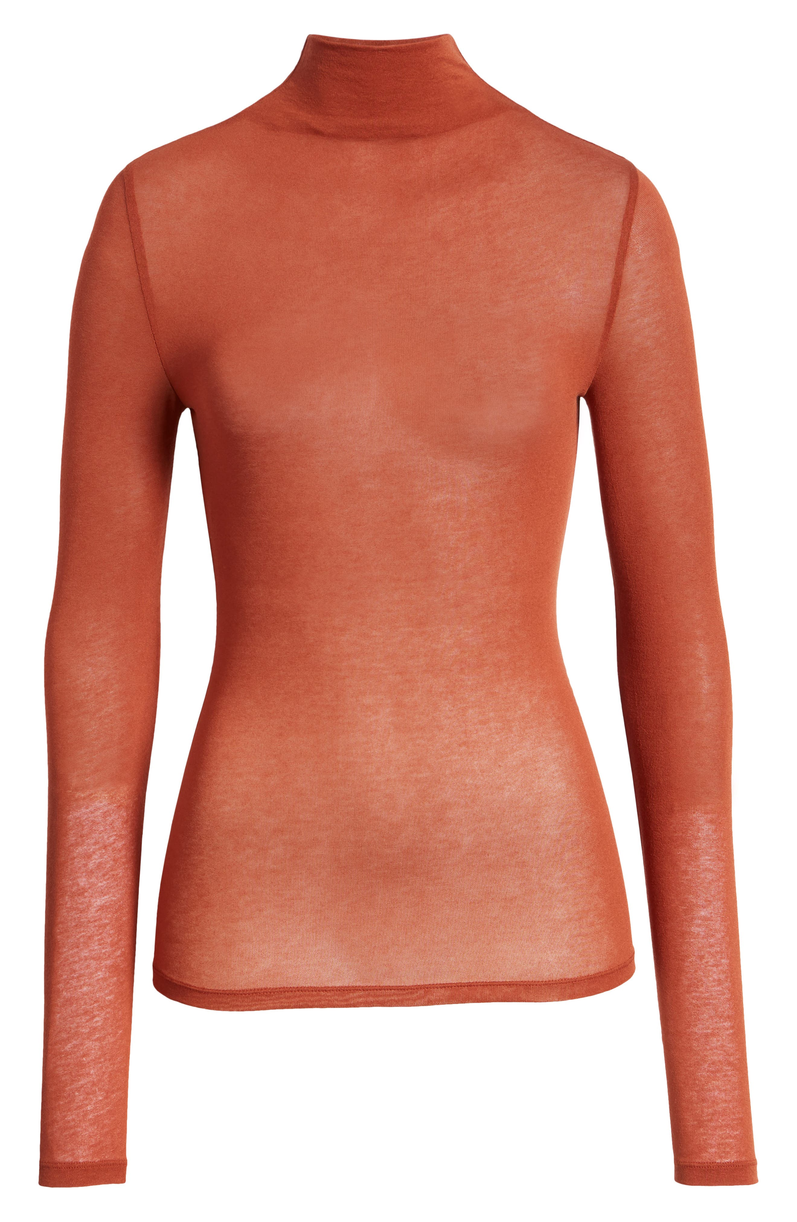 Lightweight Long Sleeve Funnel Neck Top,                             Alternate thumbnail 8, color,                             BROWN SPICE