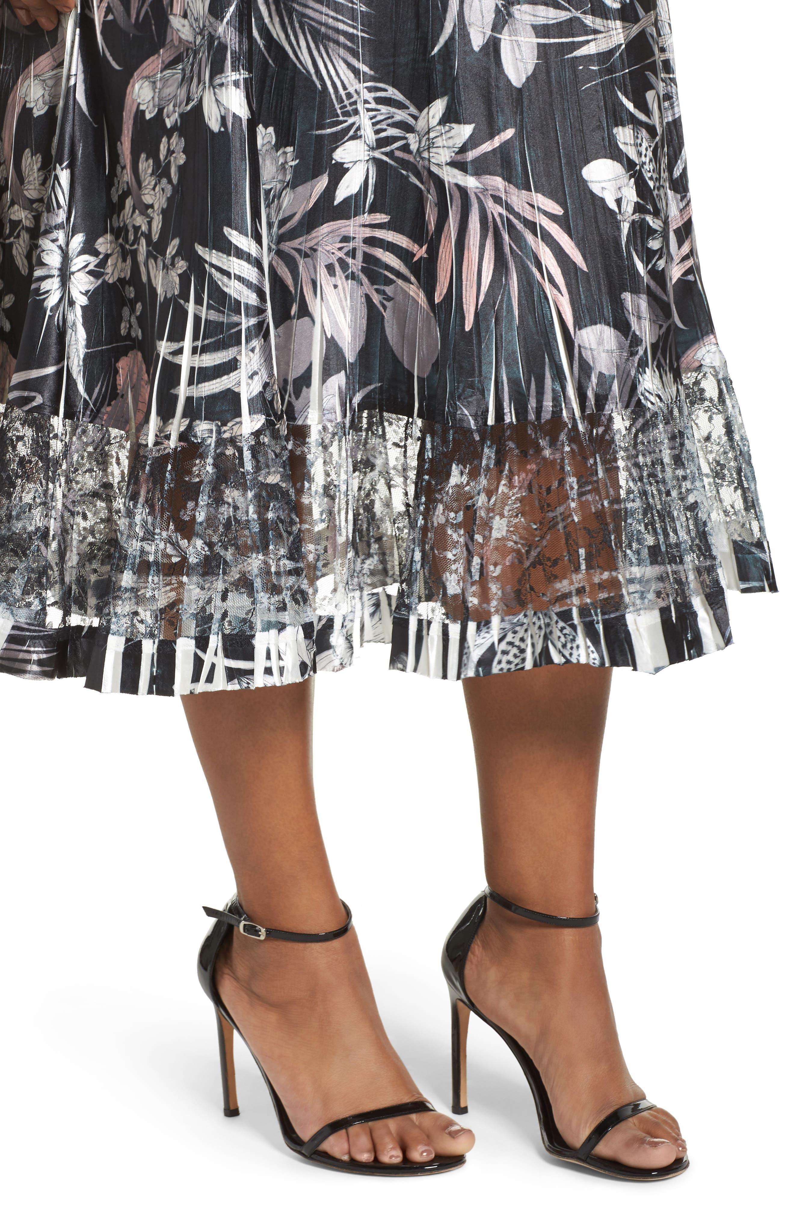 Floral Print Charmeuse Midi Dress,                             Alternate thumbnail 4, color,