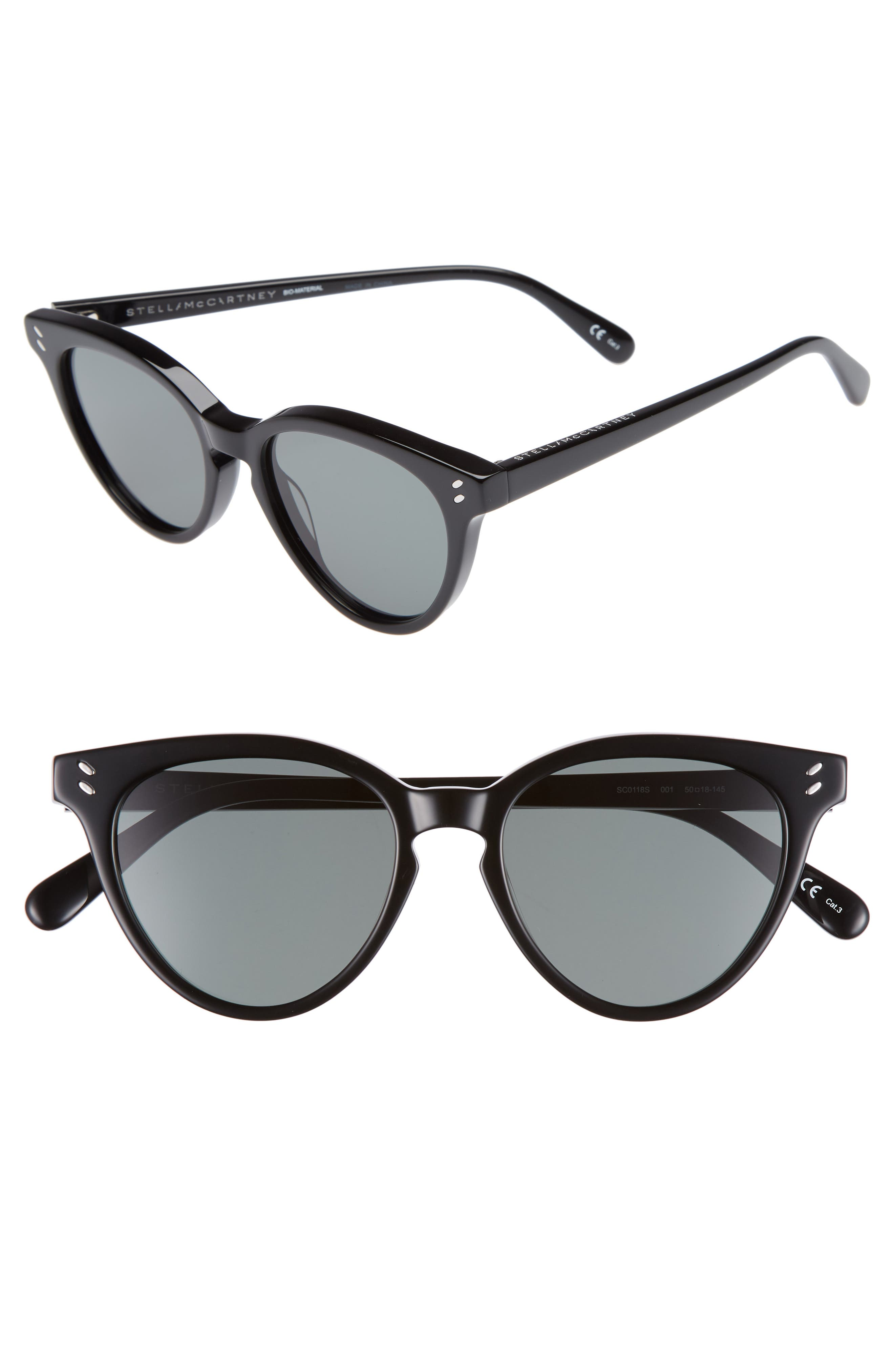 50mm Round Sunglasses,                         Main,                         color, BLACK