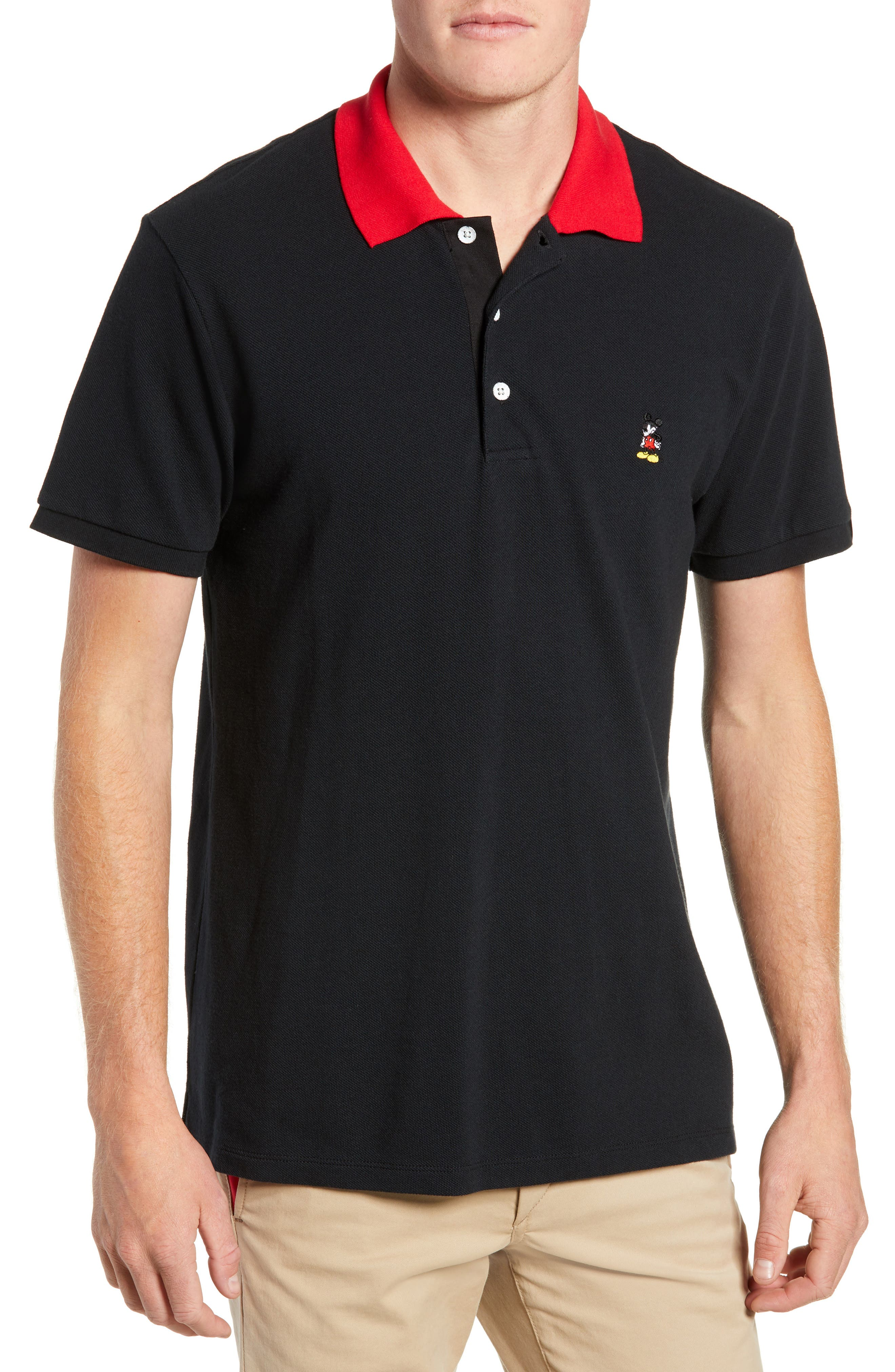 Mickey Mouse Unisex Piqué Polo, Main, color, BLACK/ RED