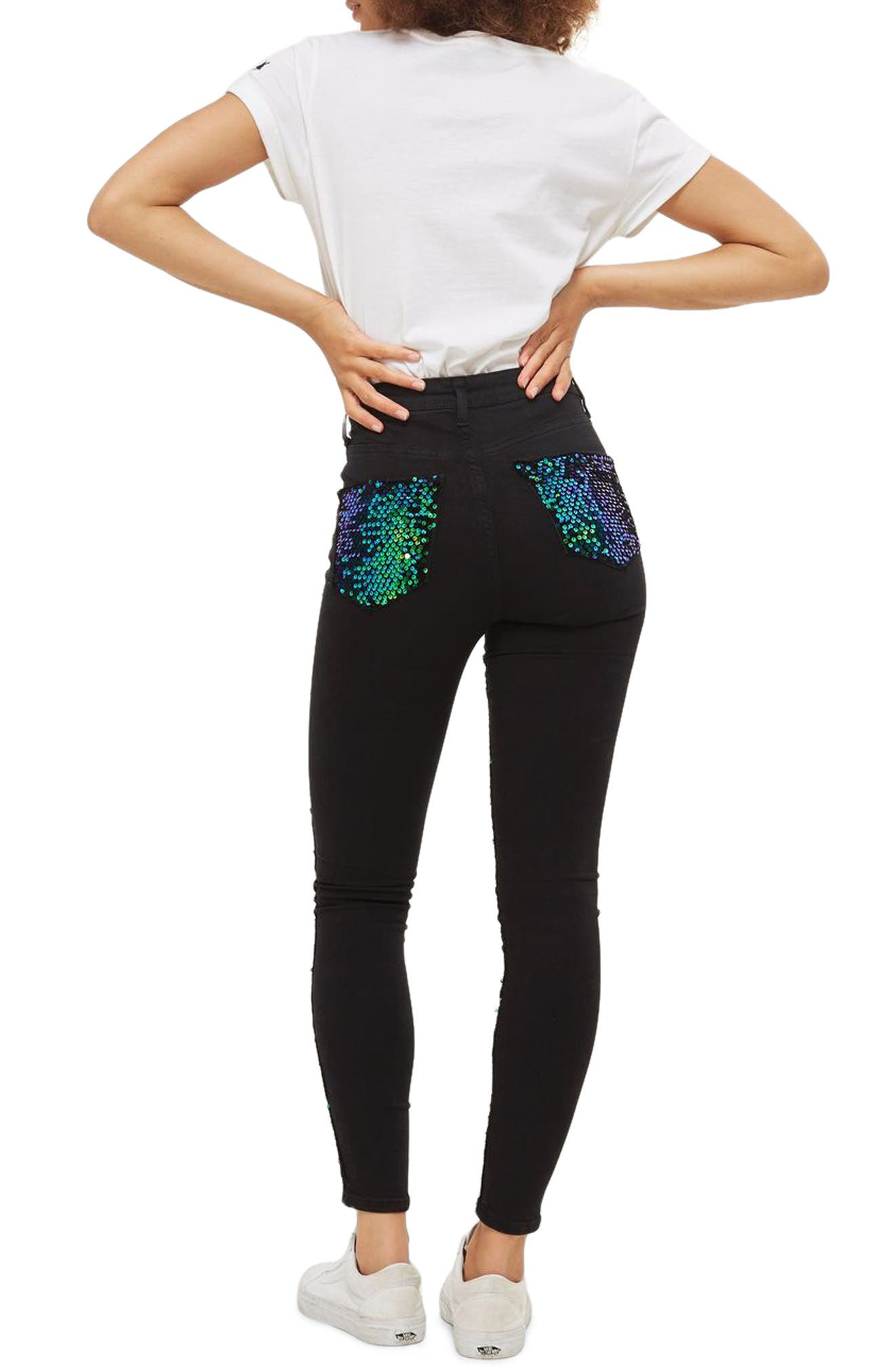 Jamie Turtle Sequin High Waist Skinny Jeans,                             Alternate thumbnail 2, color,                             001
