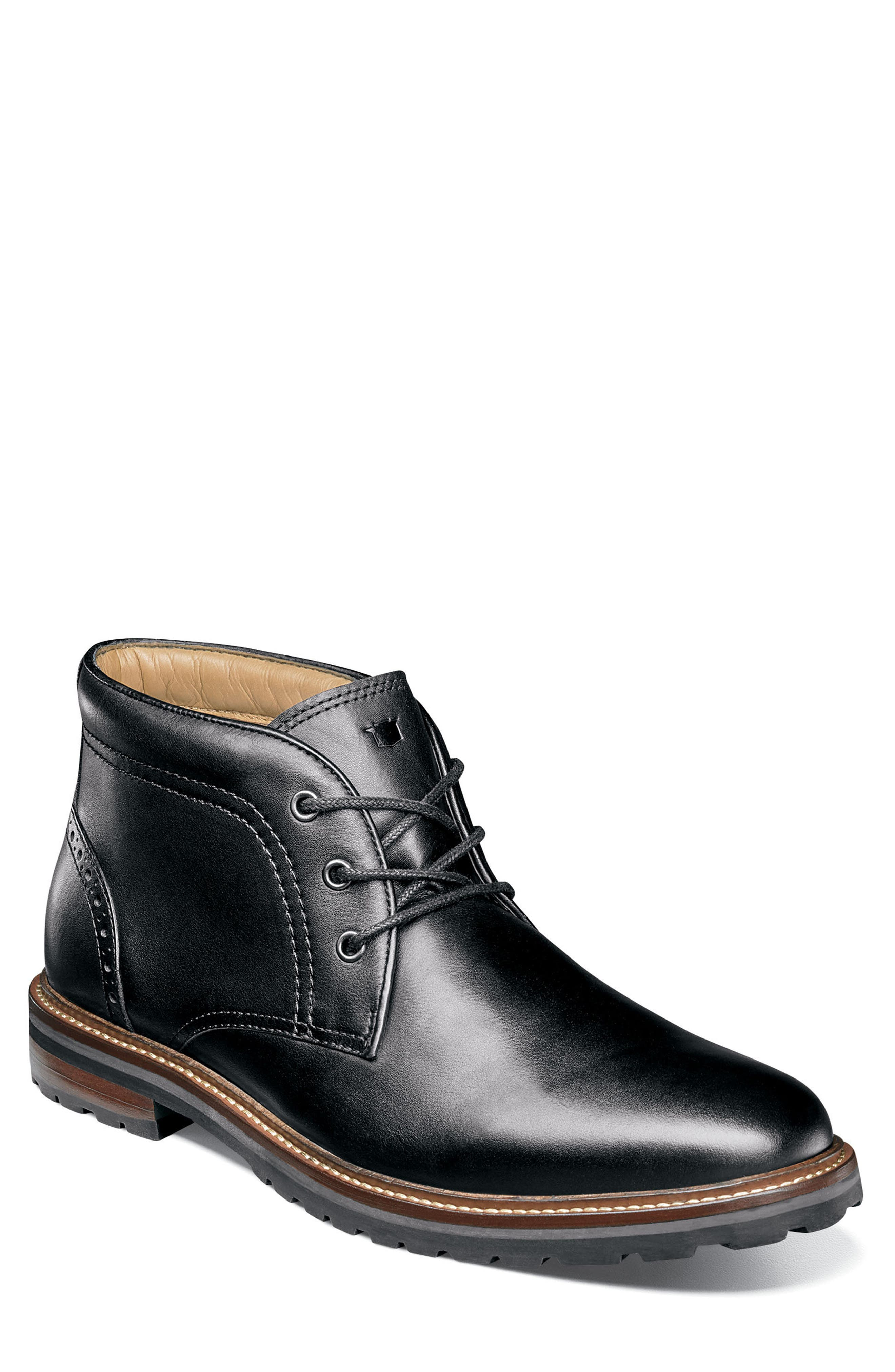 Estabrook Lugged Chukka Boot,                         Main,                         color, BLACK LEATHER