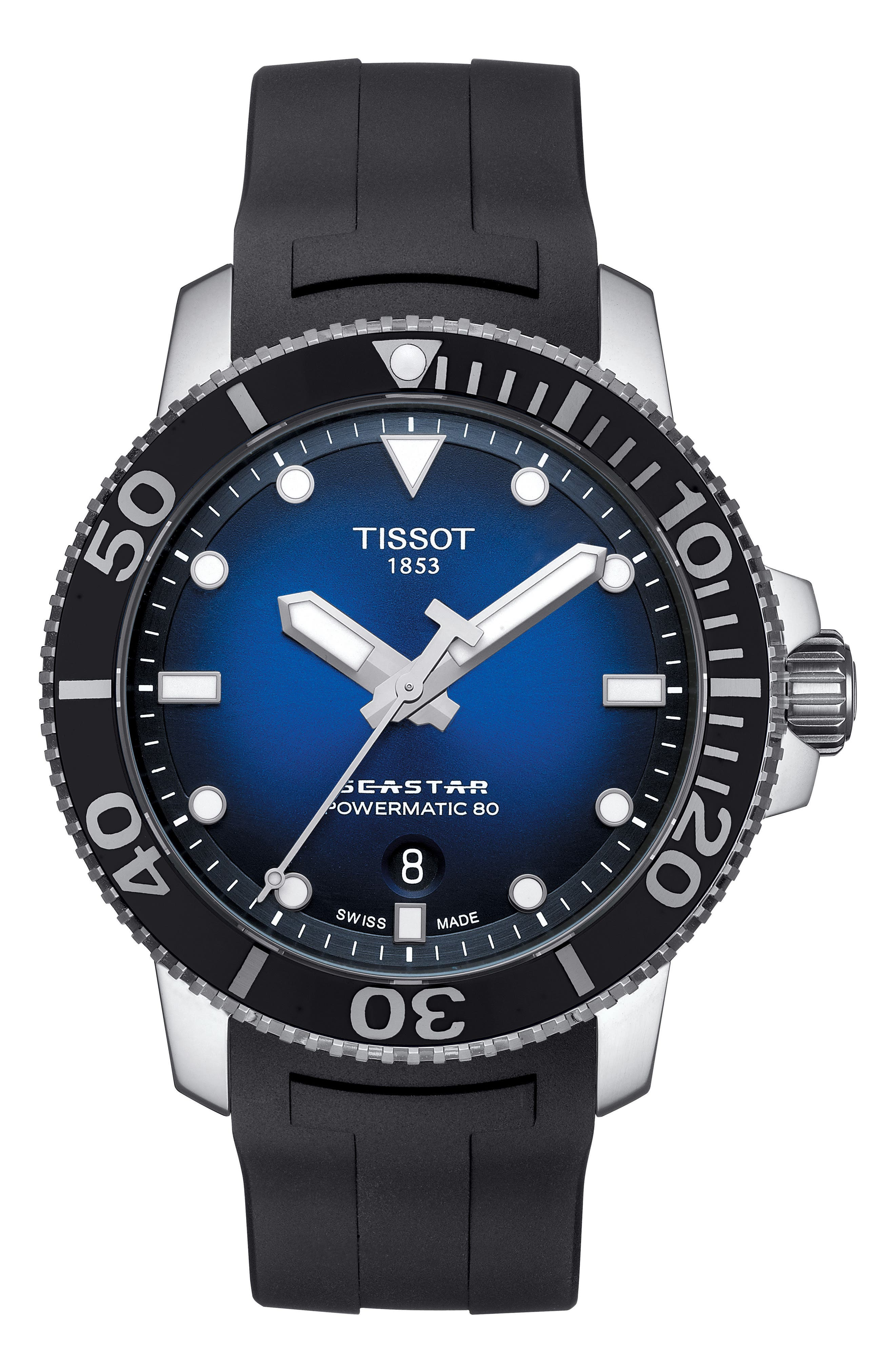 TISSOT T120.407.17.041.00 Seastar 1000 Stainless Steel And Rubber Watch in Blue