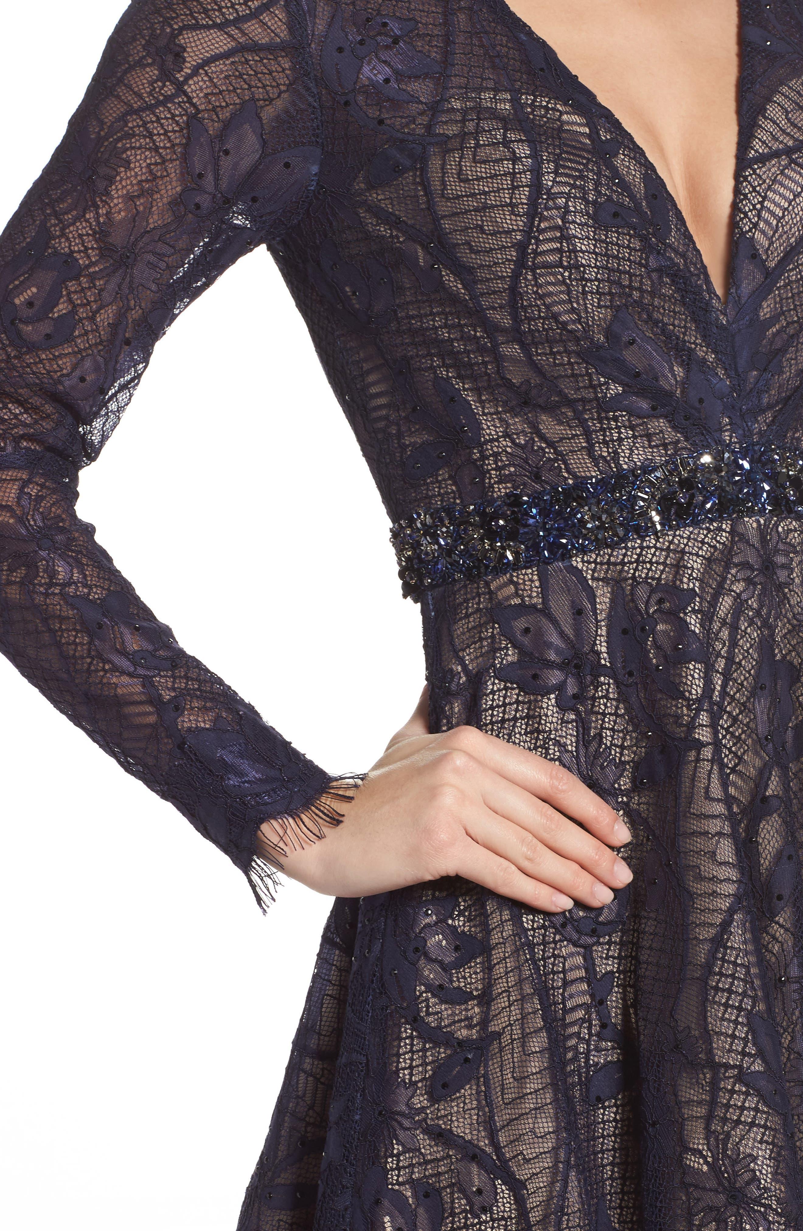 Open Back Lace A-Line Dress,                             Alternate thumbnail 4, color,                             405