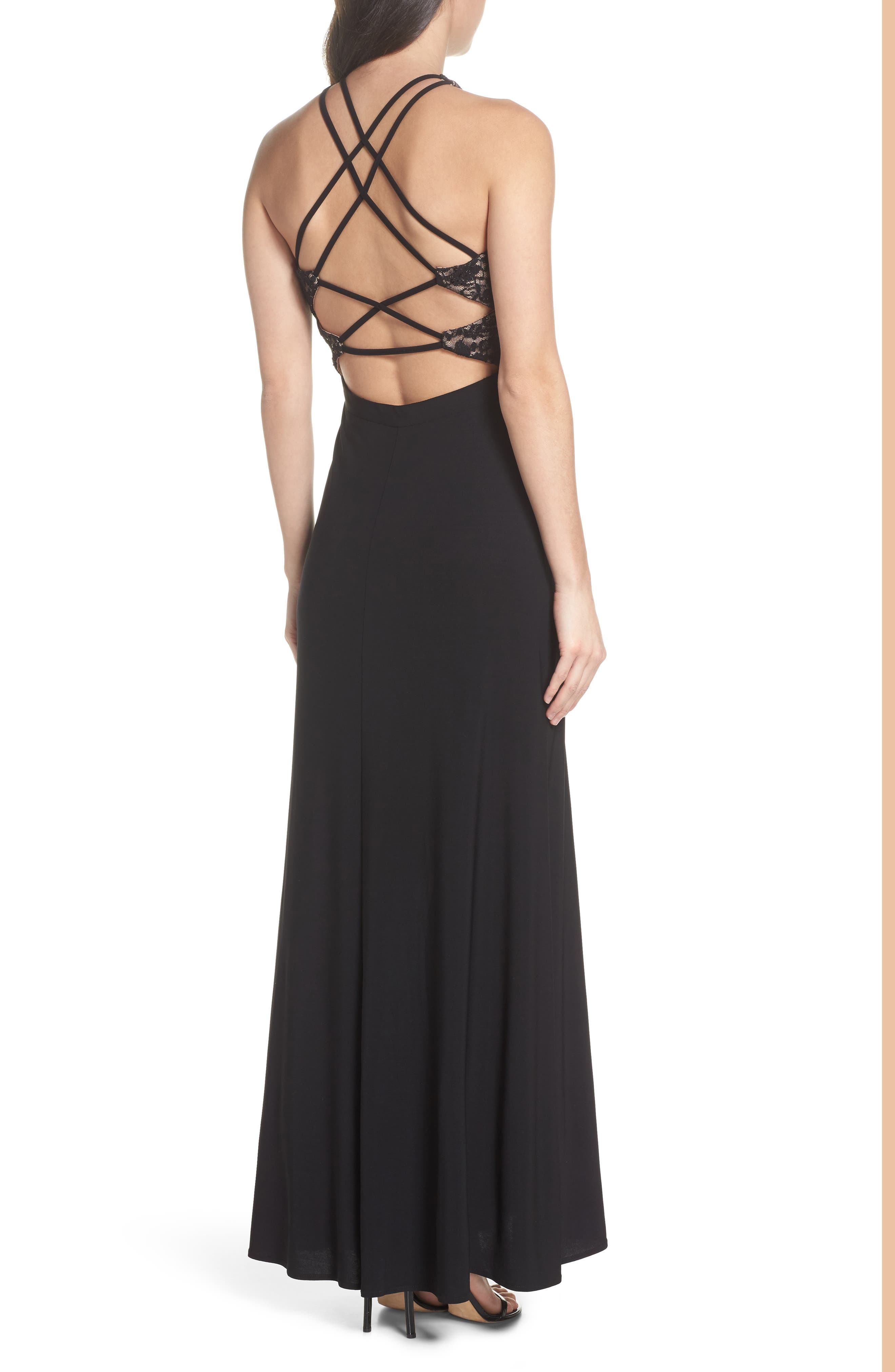 Lace Bodice Strappy Gown,                             Alternate thumbnail 2, color,