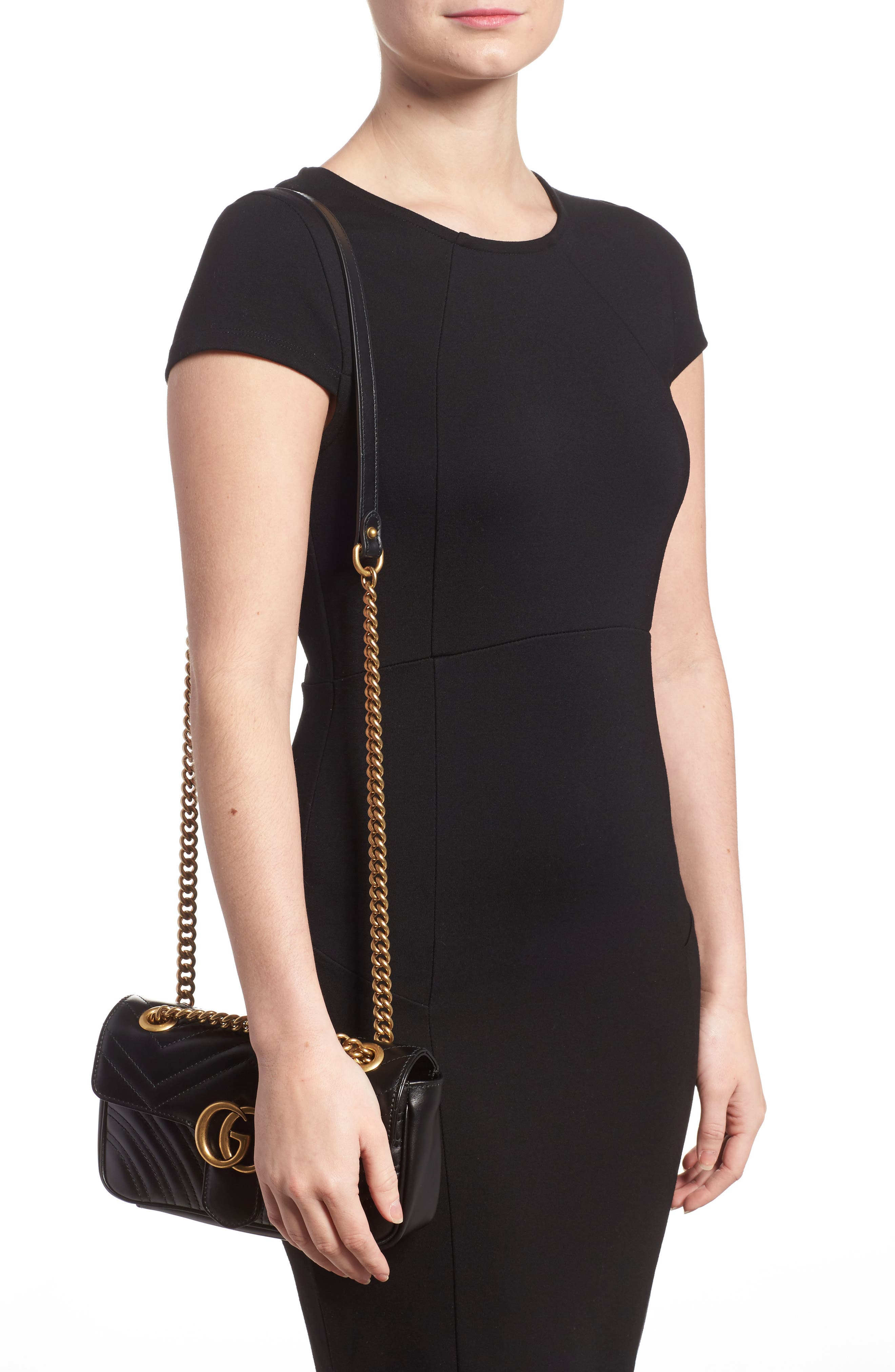 Mini GG Marmont 2.0 Matelassé Leather Shoulder Bag,                             Alternate thumbnail 2, color,                             NERO