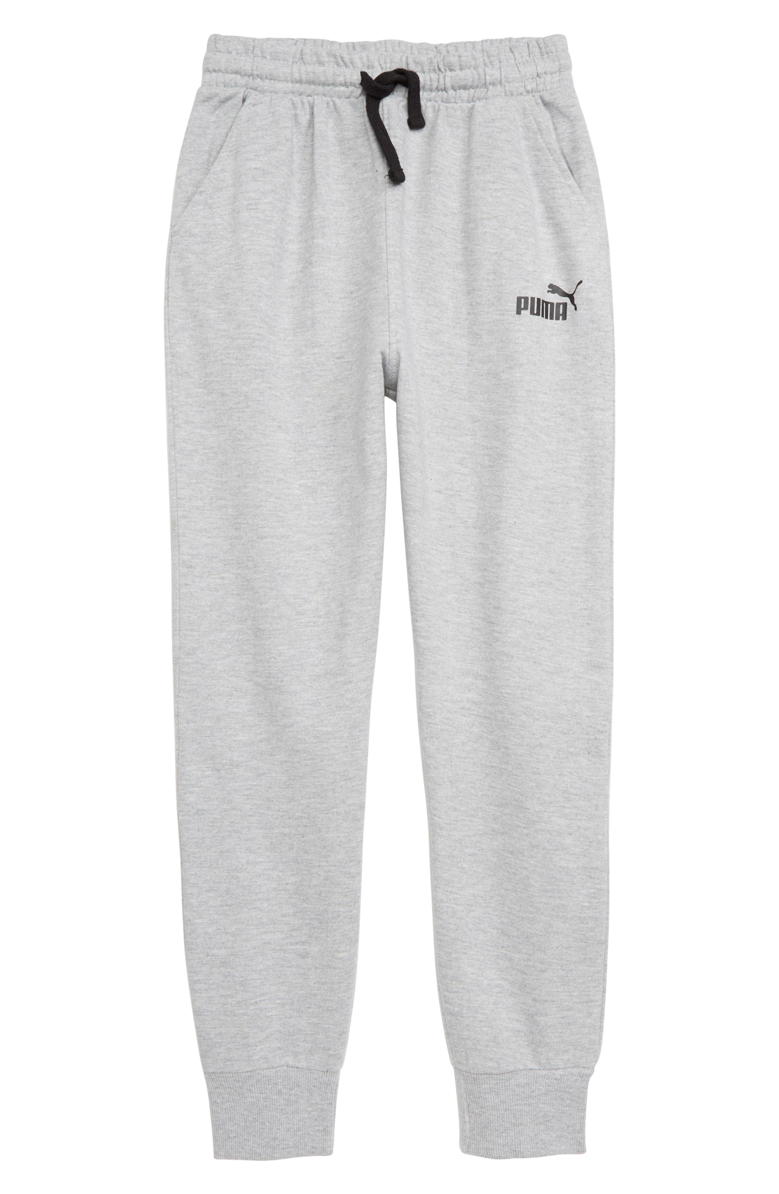 PUMA Fleece Jogger Pants, Main, color, HEATHER GREY