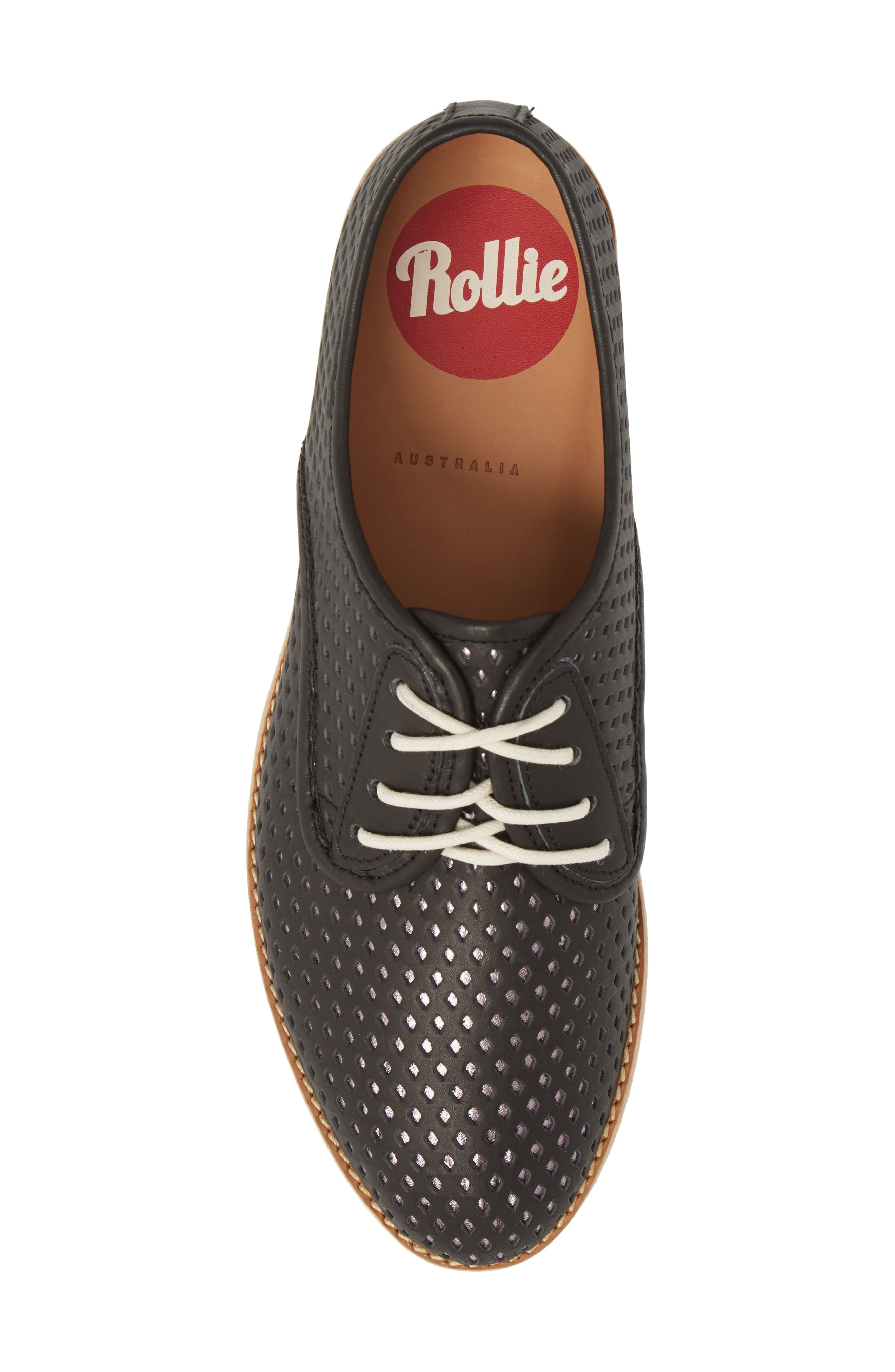 Punch Perforated Derby,                             Alternate thumbnail 5, color,                             BLACK/ ROSE GOLD LEATHER