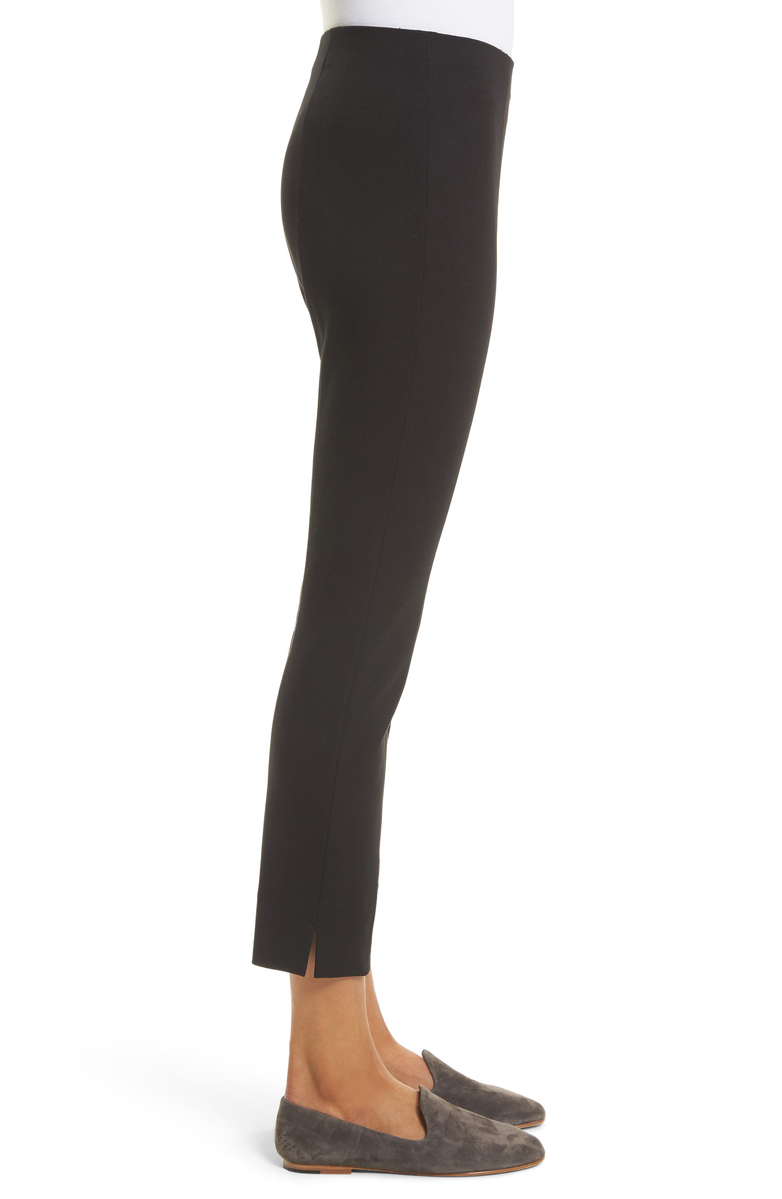 Crop Stretch Knit Trousers,                             Alternate thumbnail 3, color,                             001