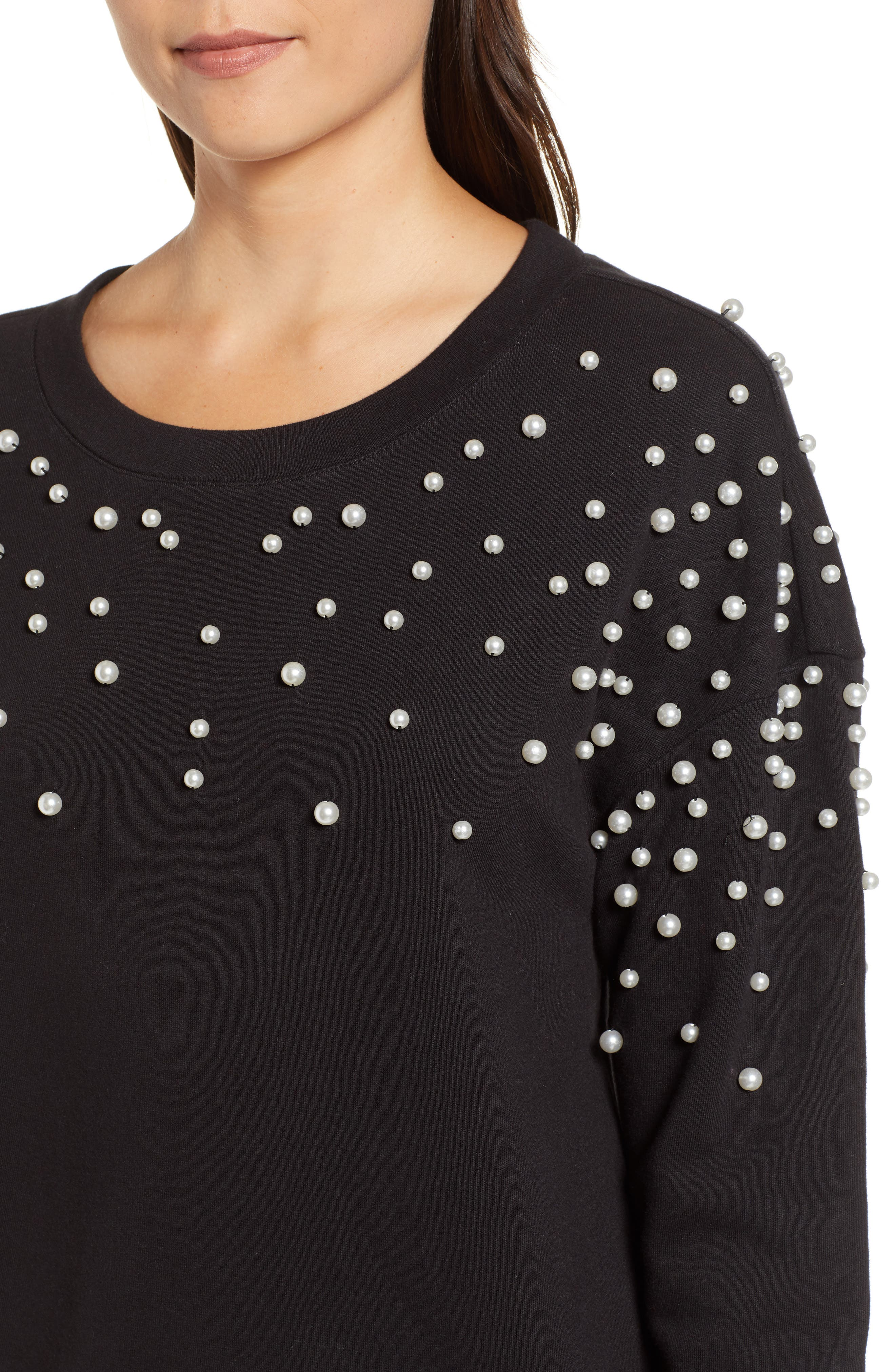 Beaded Sweatshirt,                             Alternate thumbnail 4, color,                             001