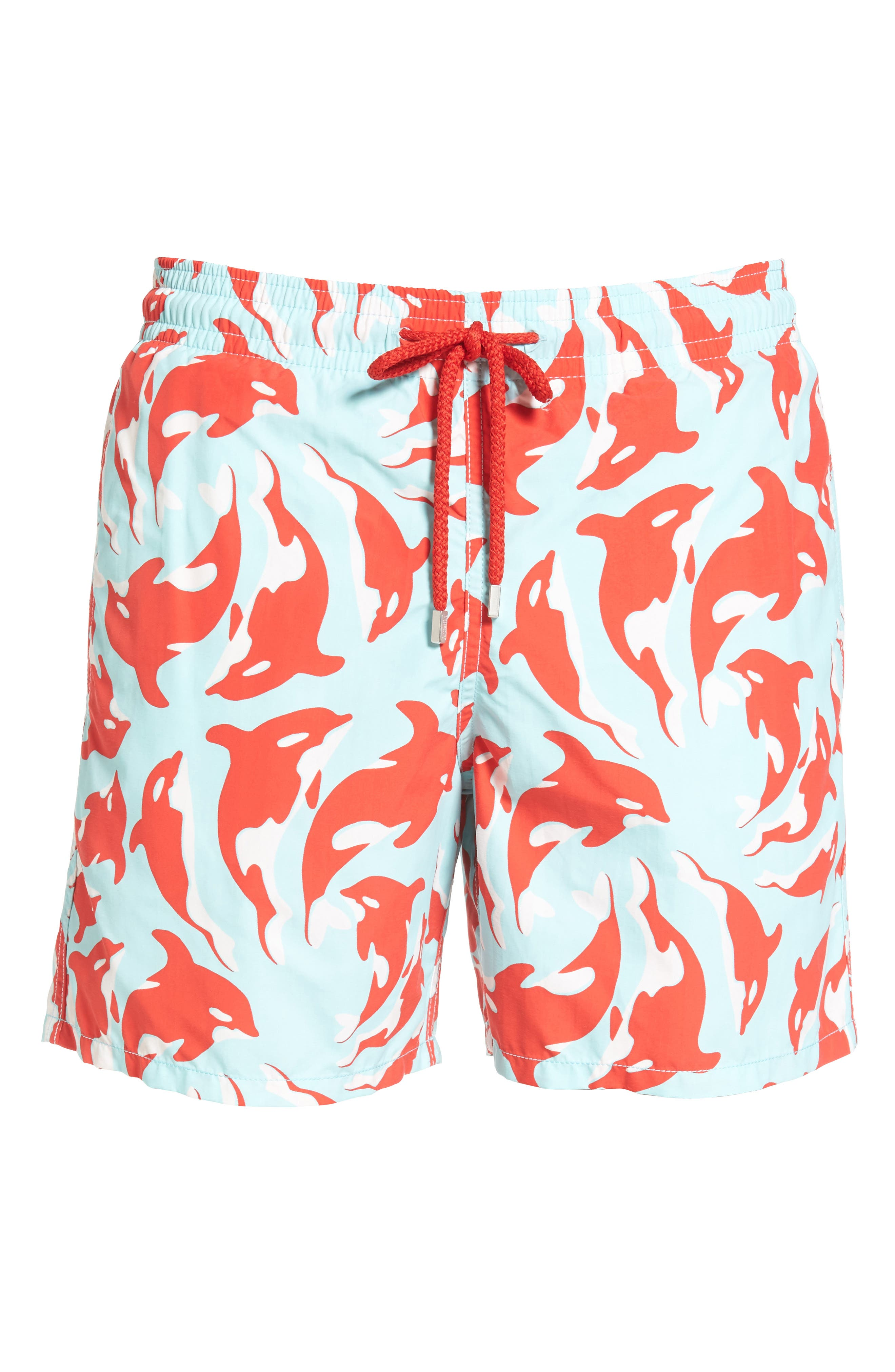 Moorea Galaks Print Swim Trunks,                             Alternate thumbnail 6, color,                             FROSTED BLUE