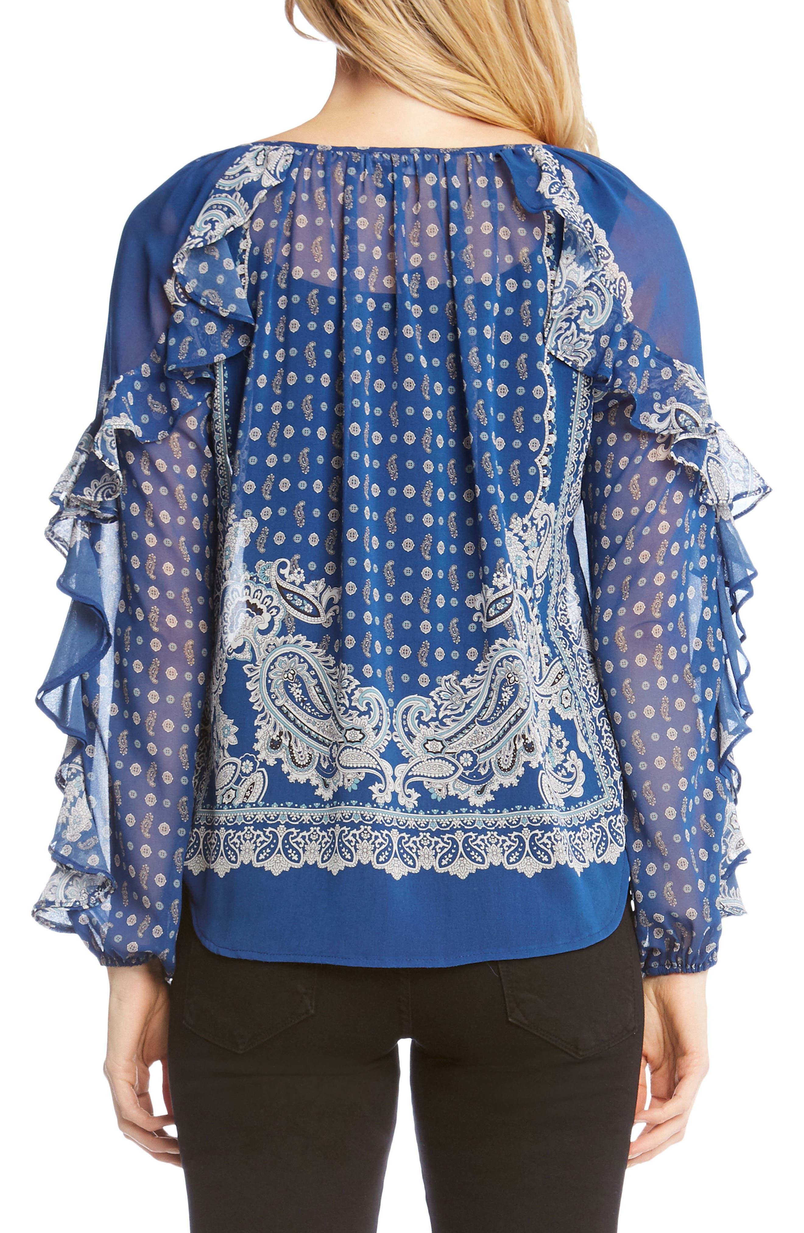 Ruffle Sleeve Scarf Print Blouse,                             Alternate thumbnail 2, color,                             460