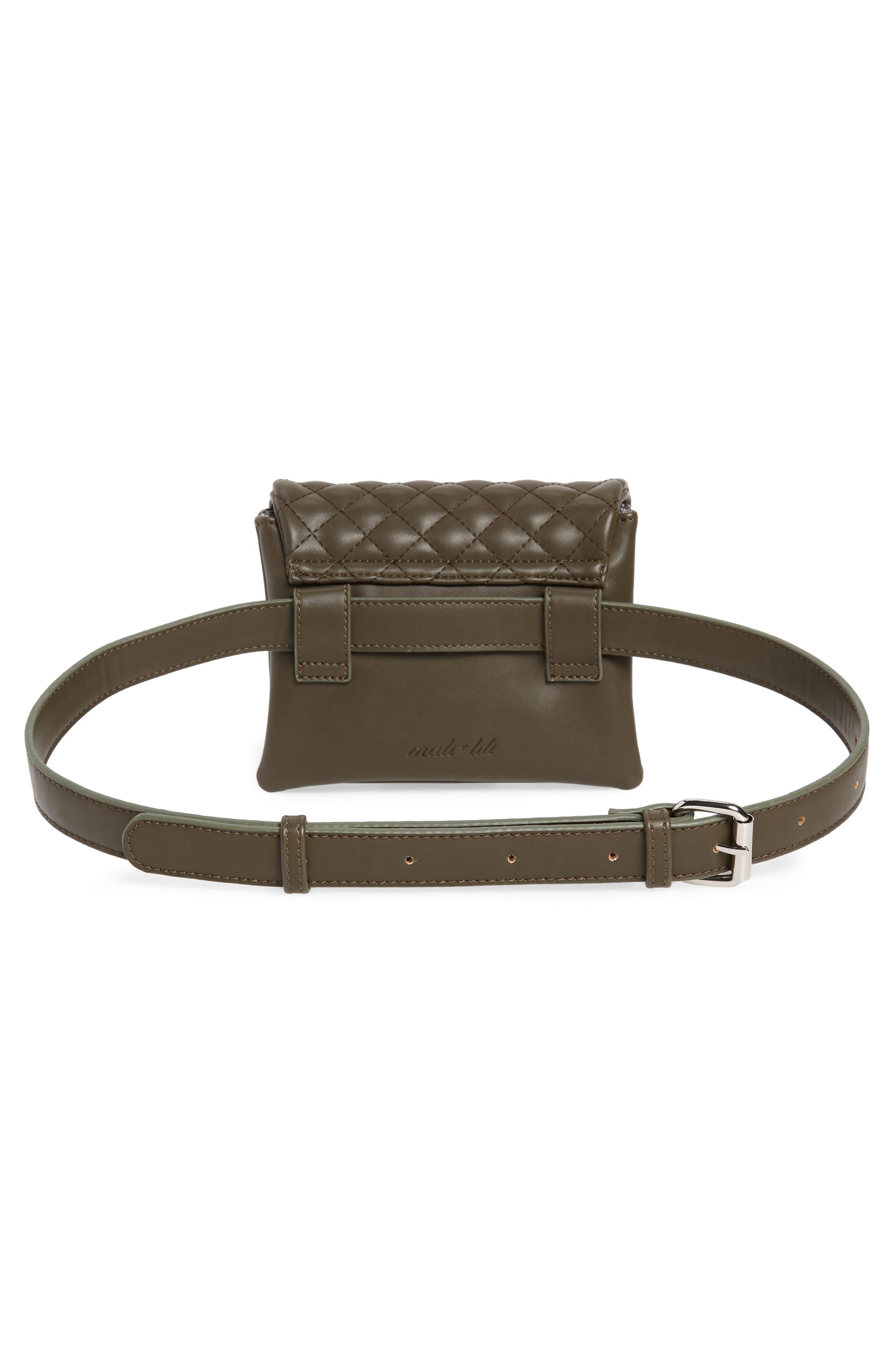 Mali + Lili Quilted Vegan Leather Convertible Belt Bag,                             Alternate thumbnail 5, color,                             OLIVE