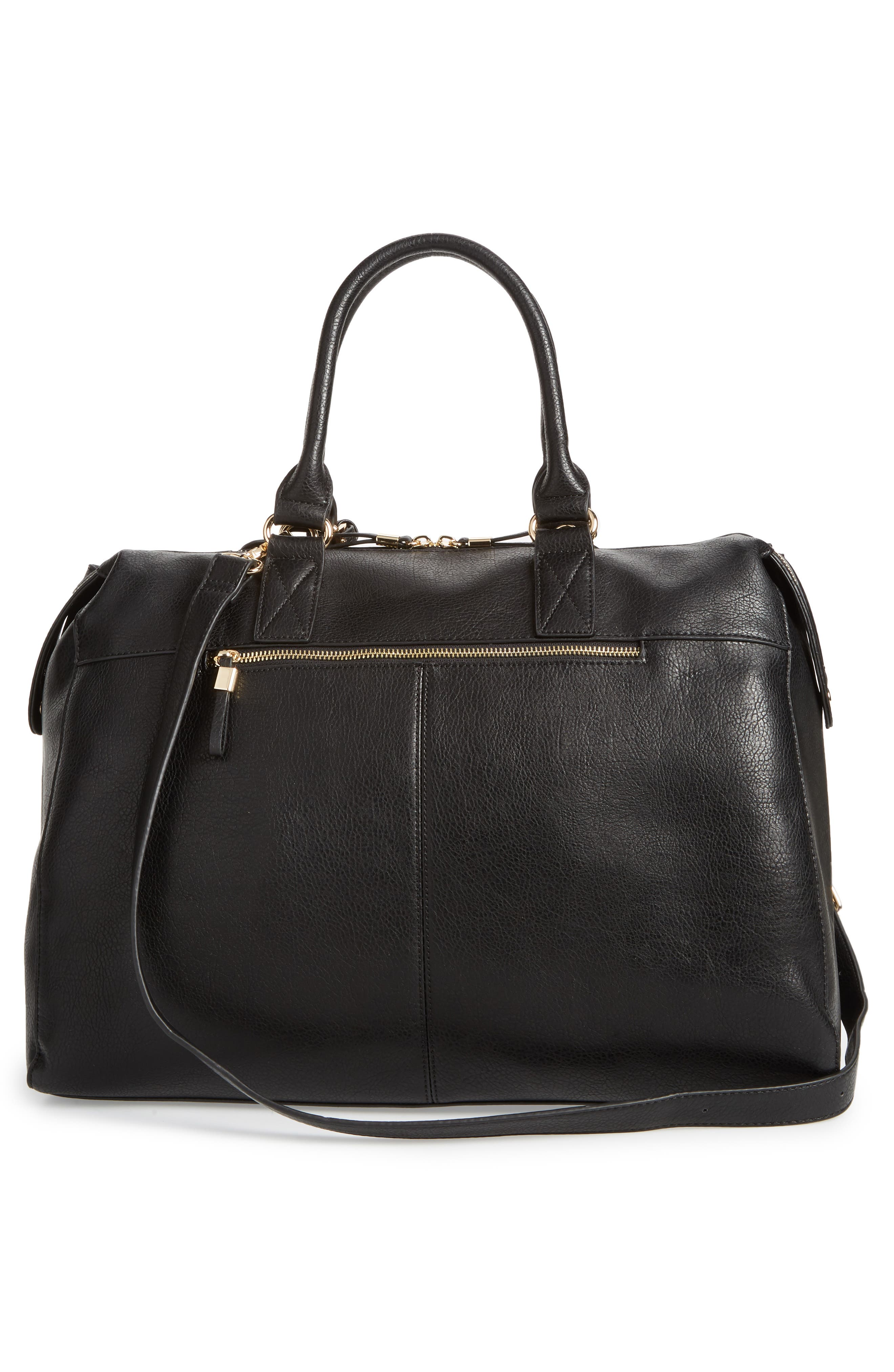 Zypa Faux Leather Weekend Bag,                             Alternate thumbnail 3, color,                             BLACK