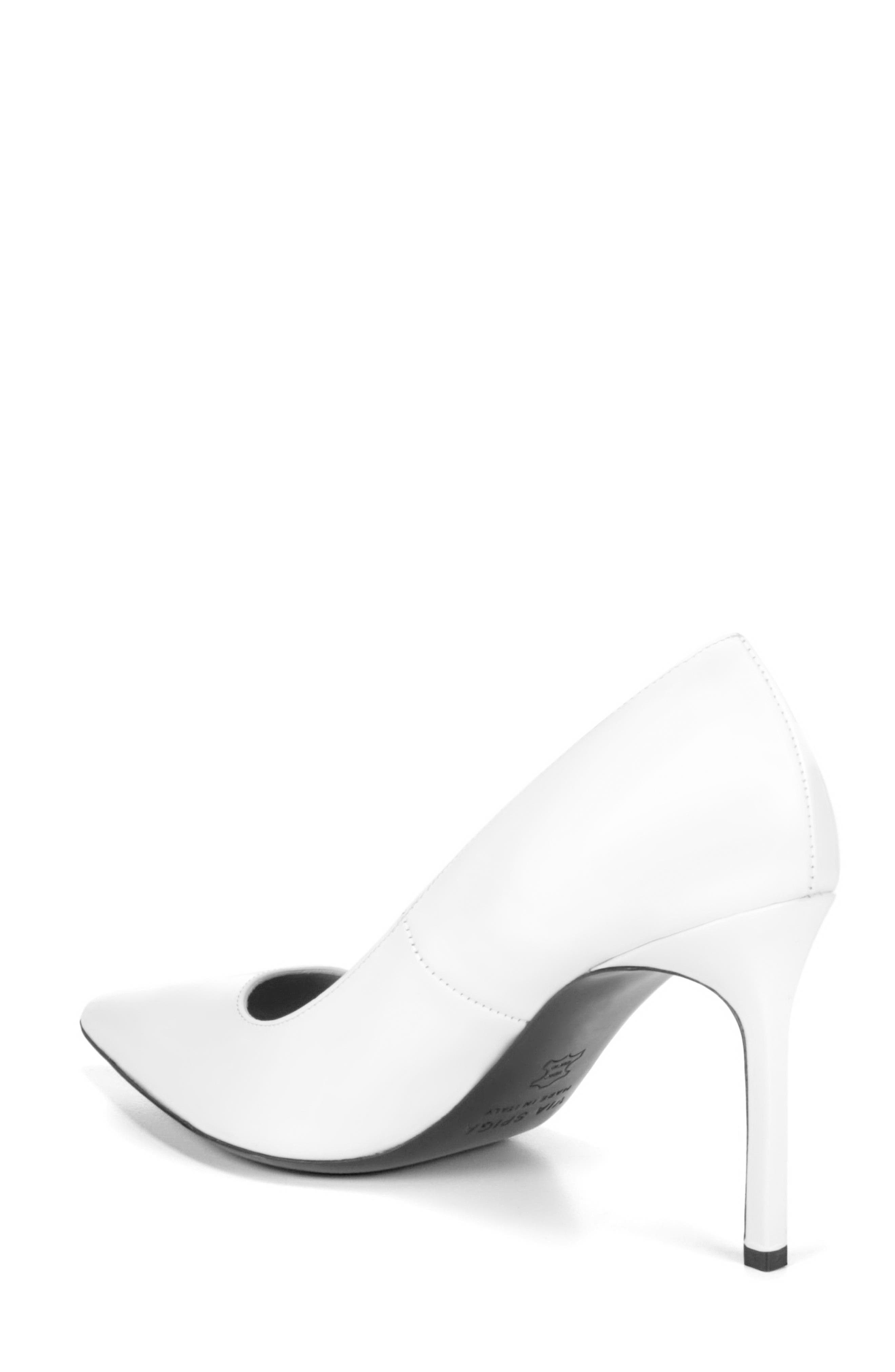 Nikole Pointy Toe Pump,                             Alternate thumbnail 2, color,                             WHITE LEATHER