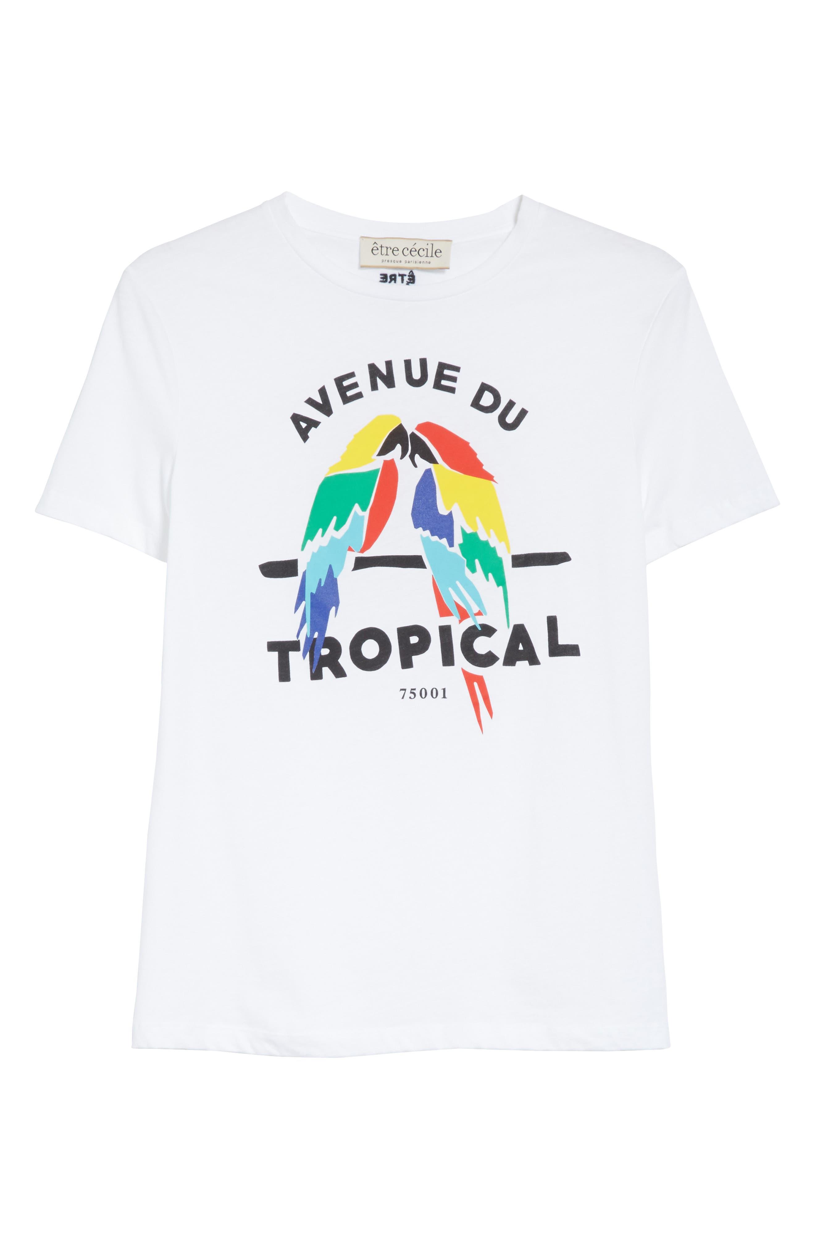 être cécile Tropical Print Tee,                             Alternate thumbnail 6, color,                             100