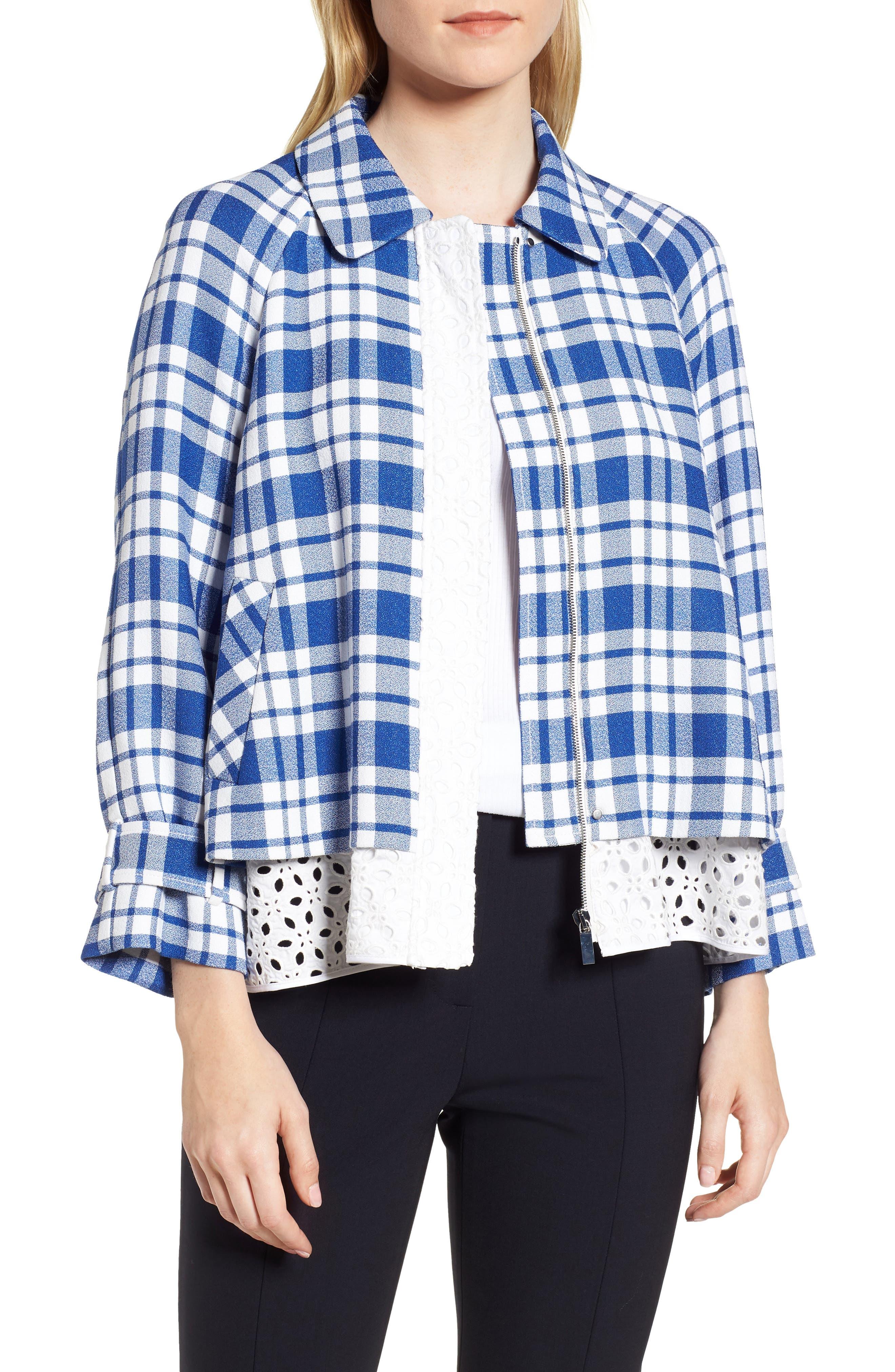 Eyelet Inset Check Jacket,                         Main,                         color, 420