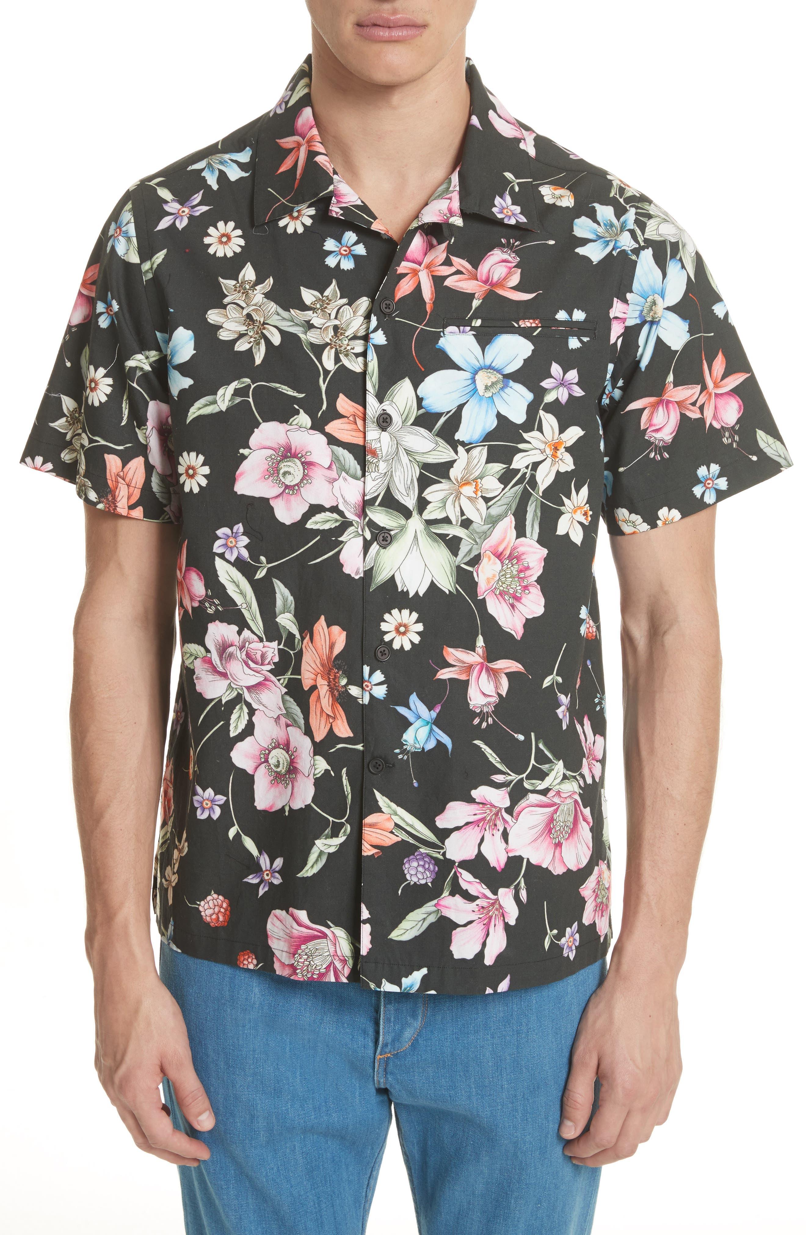 Beach Bouquet Print Shirt,                             Main thumbnail 1, color,                             009