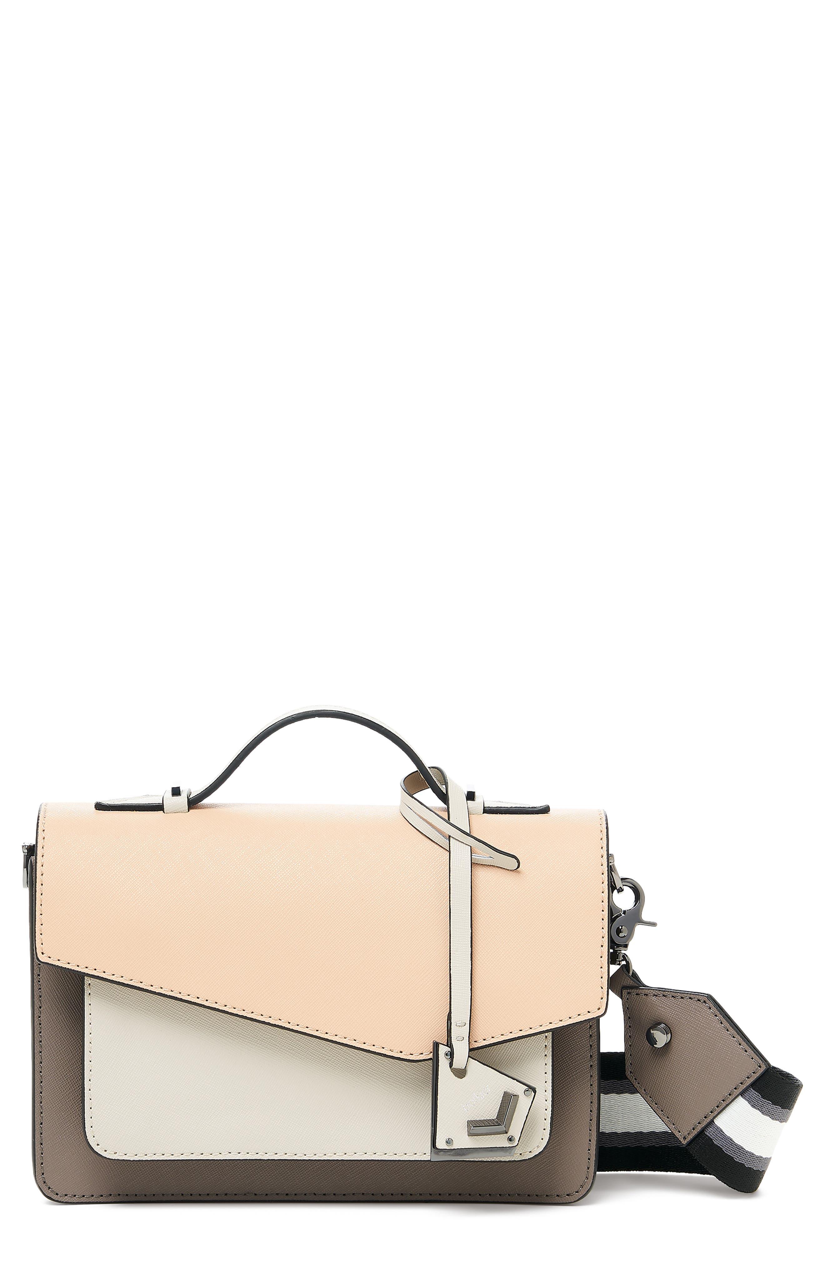 Cobble Hill Calfskin Leather Crossbody Bag,                             Main thumbnail 1, color,                             NUDE COMBO