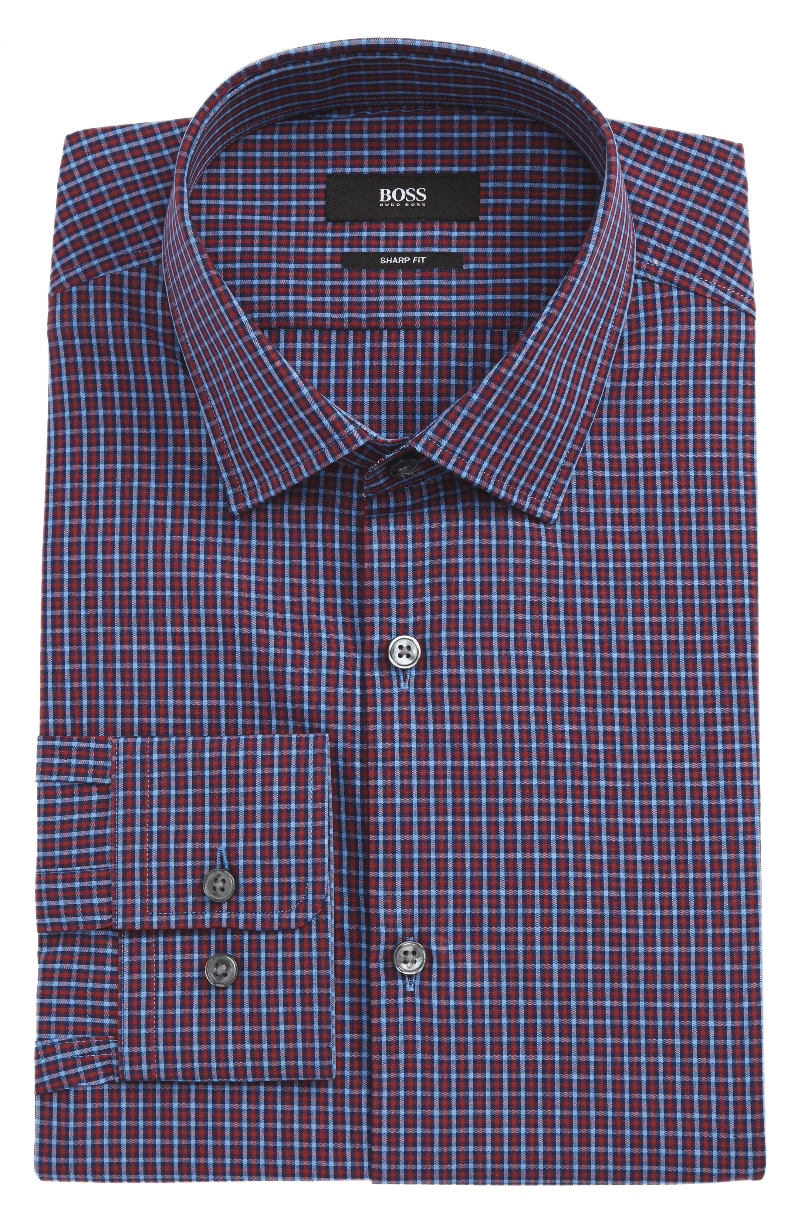 Marley Sharp Fit Check Dress Shirt,                         Main,                         color, 611
