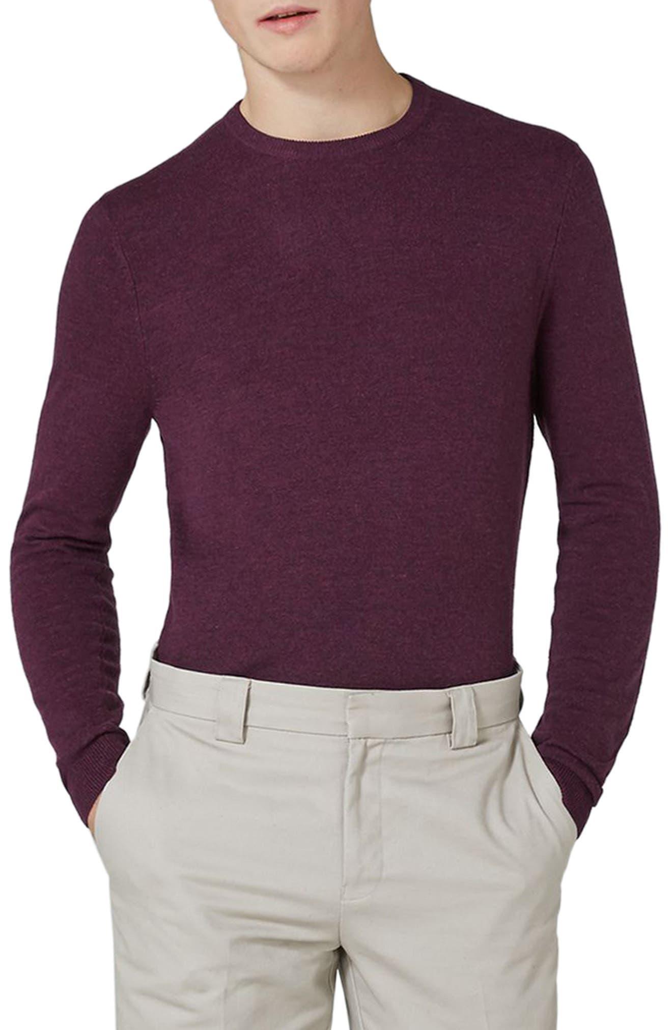 Crewneck Sweater,                         Main,                         color, BURGUNDY