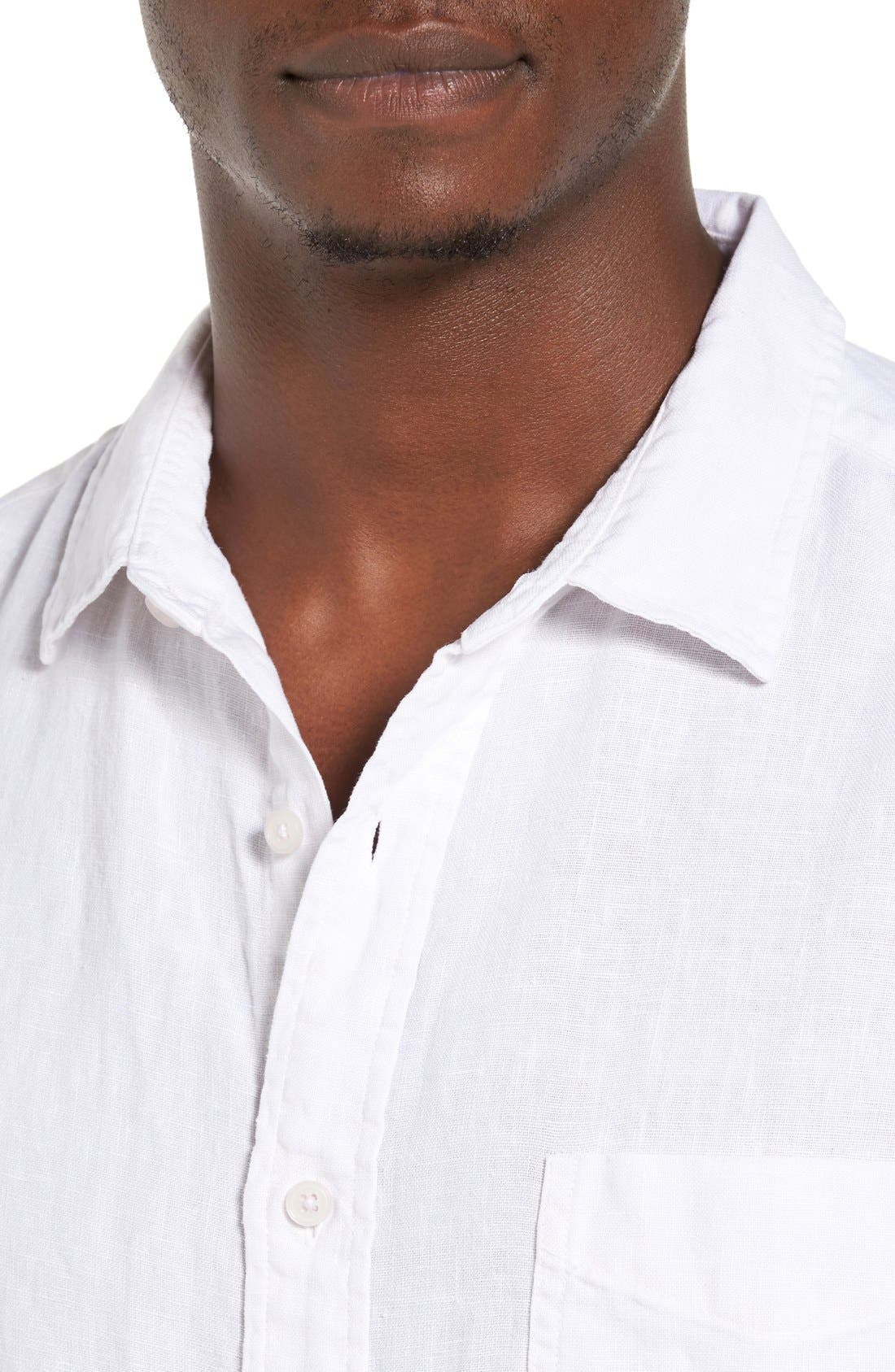 Nice Trim Fit Linen Sport Shirt,                             Alternate thumbnail 4, color,                             100