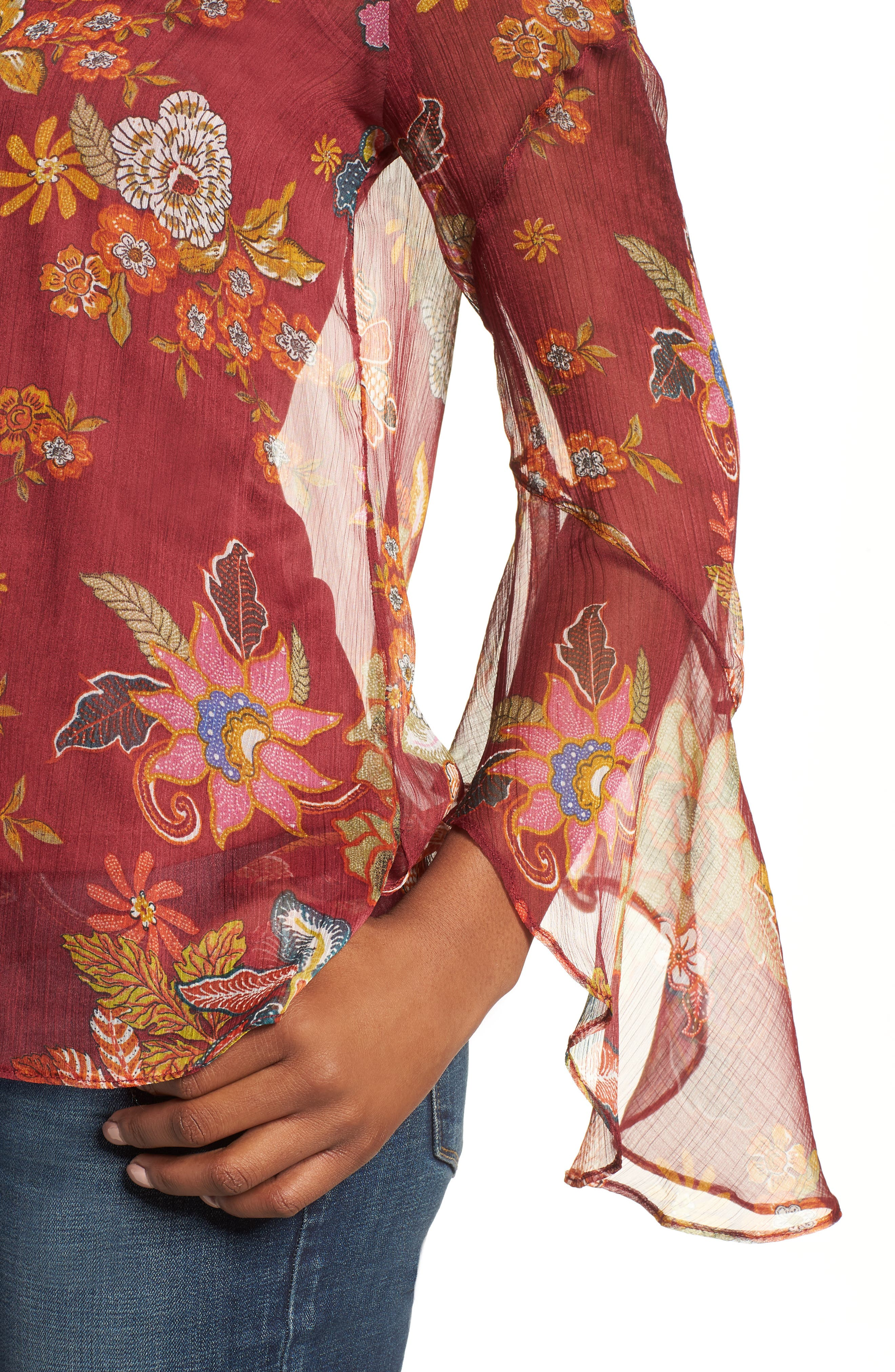 Flared Sleeve Floral Top,                             Alternate thumbnail 13, color,