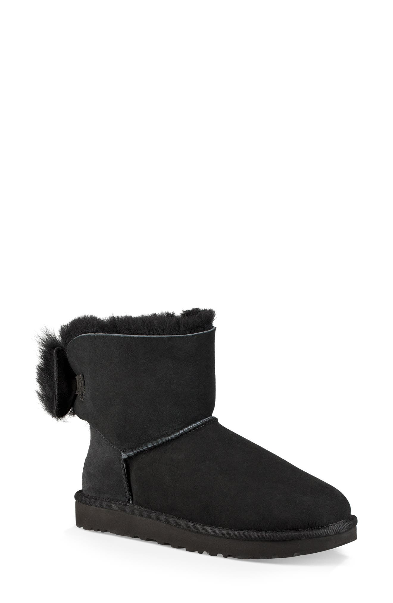 Mini Fluff Bow Genuine Shearling Boot,                             Main thumbnail 1, color,                             BLACK SUEDE