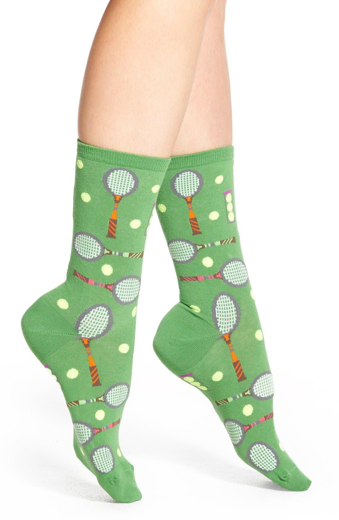 HOT SOX,                             'Tennis' Crew Socks,                             Main thumbnail 1, color,                             323