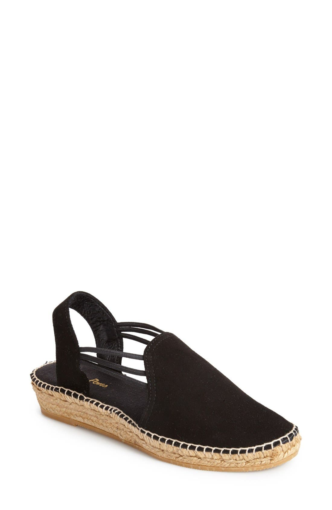 'Nuria' Suede Sandal,                         Main,                         color, BLACK