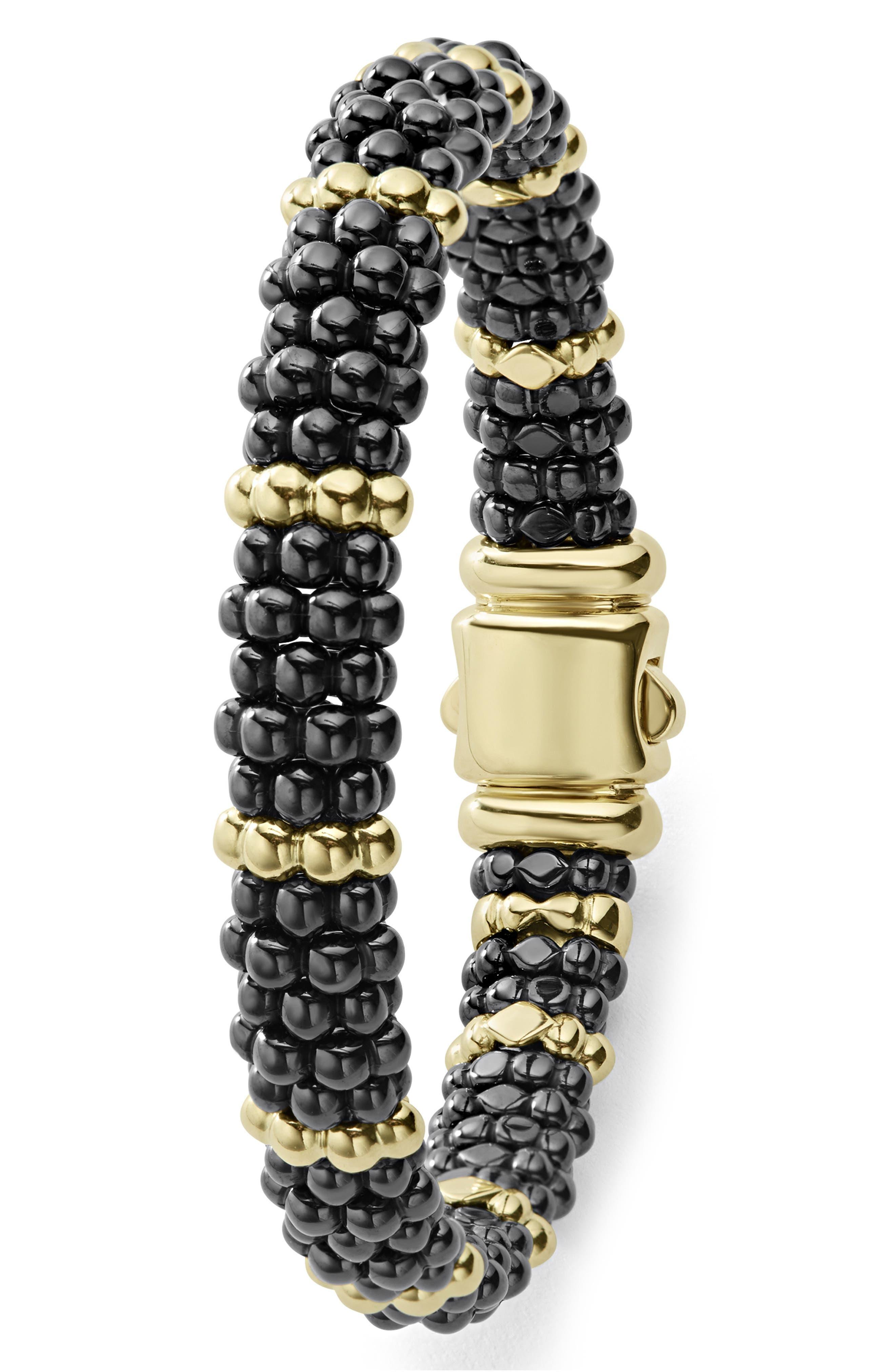 Gold & Black Caviar Station Bracelet,                             Alternate thumbnail 4, color,                             GOLD/ BLACK