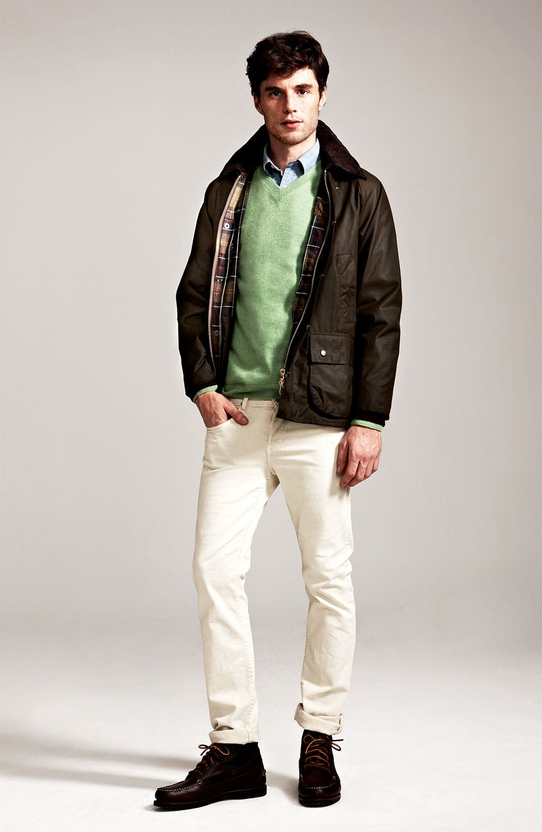 'Bedale' Relaxed Fit Waterproof Waxed Cotton Jacket,                             Alternate thumbnail 6, color,                             301