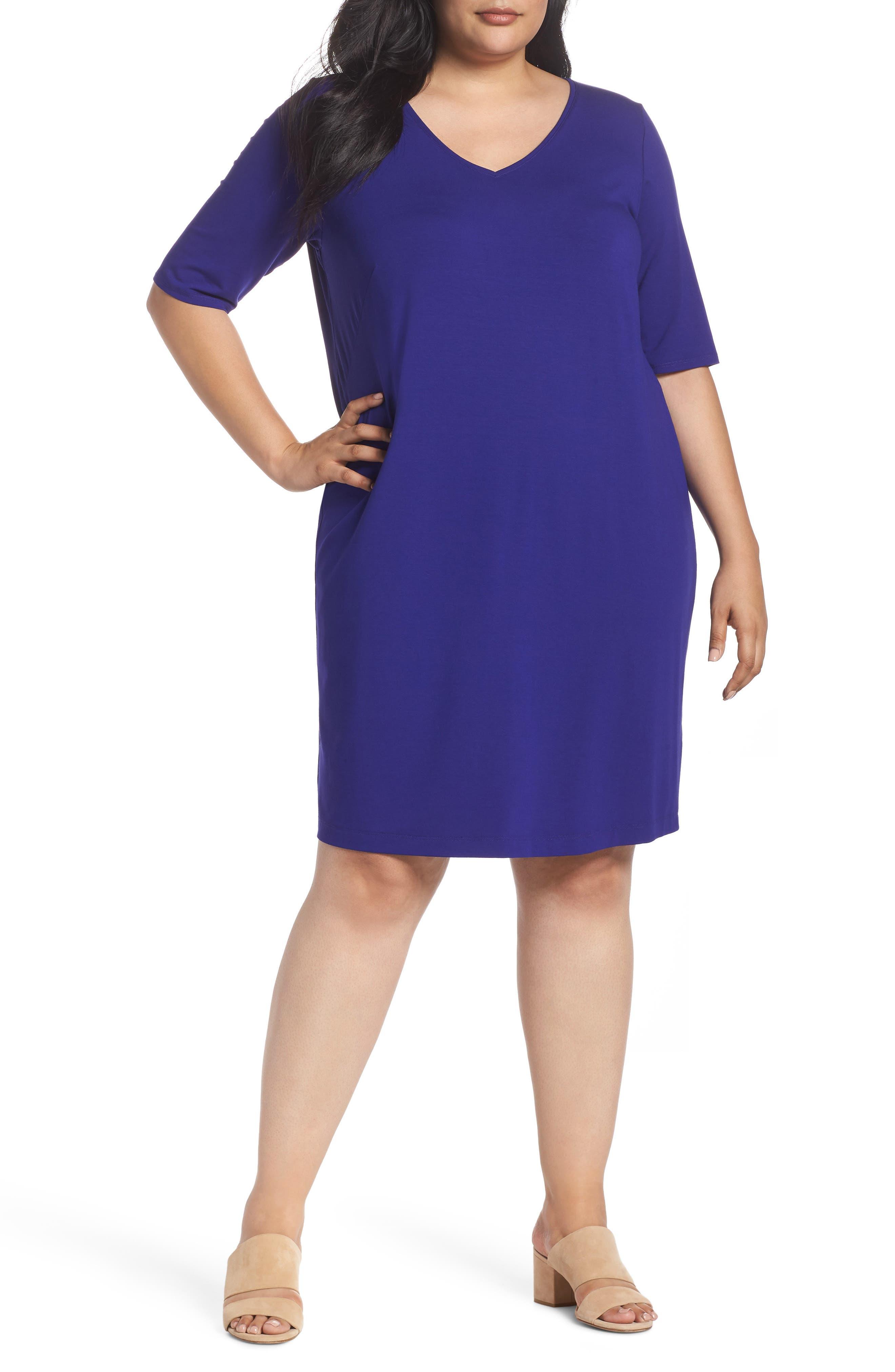 V-Neck Stretch Jersey Shift Dress,                             Main thumbnail 3, color,