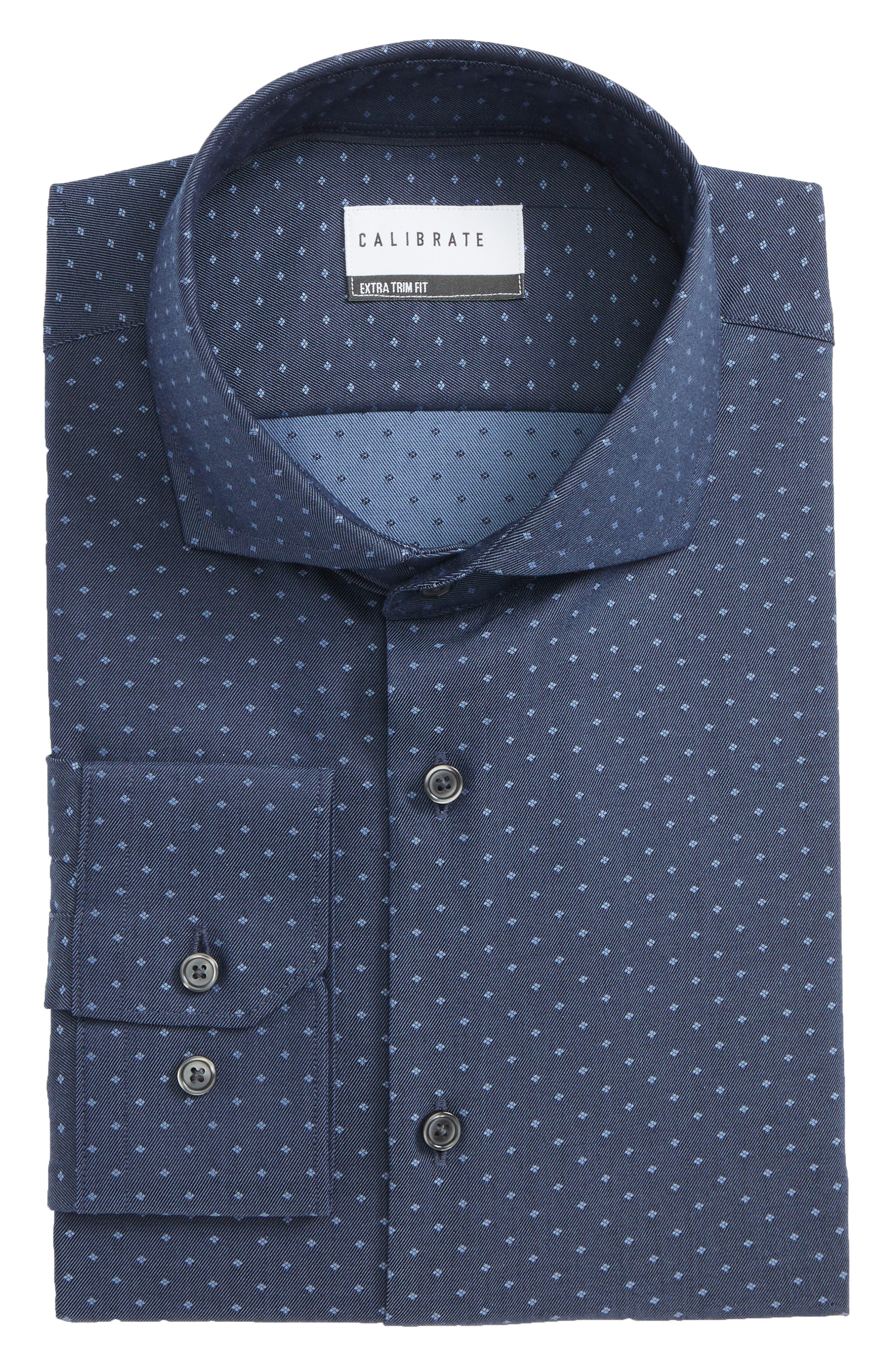 Extra Trim Fit Dot Dress Shirt,                             Alternate thumbnail 6, color,                             410