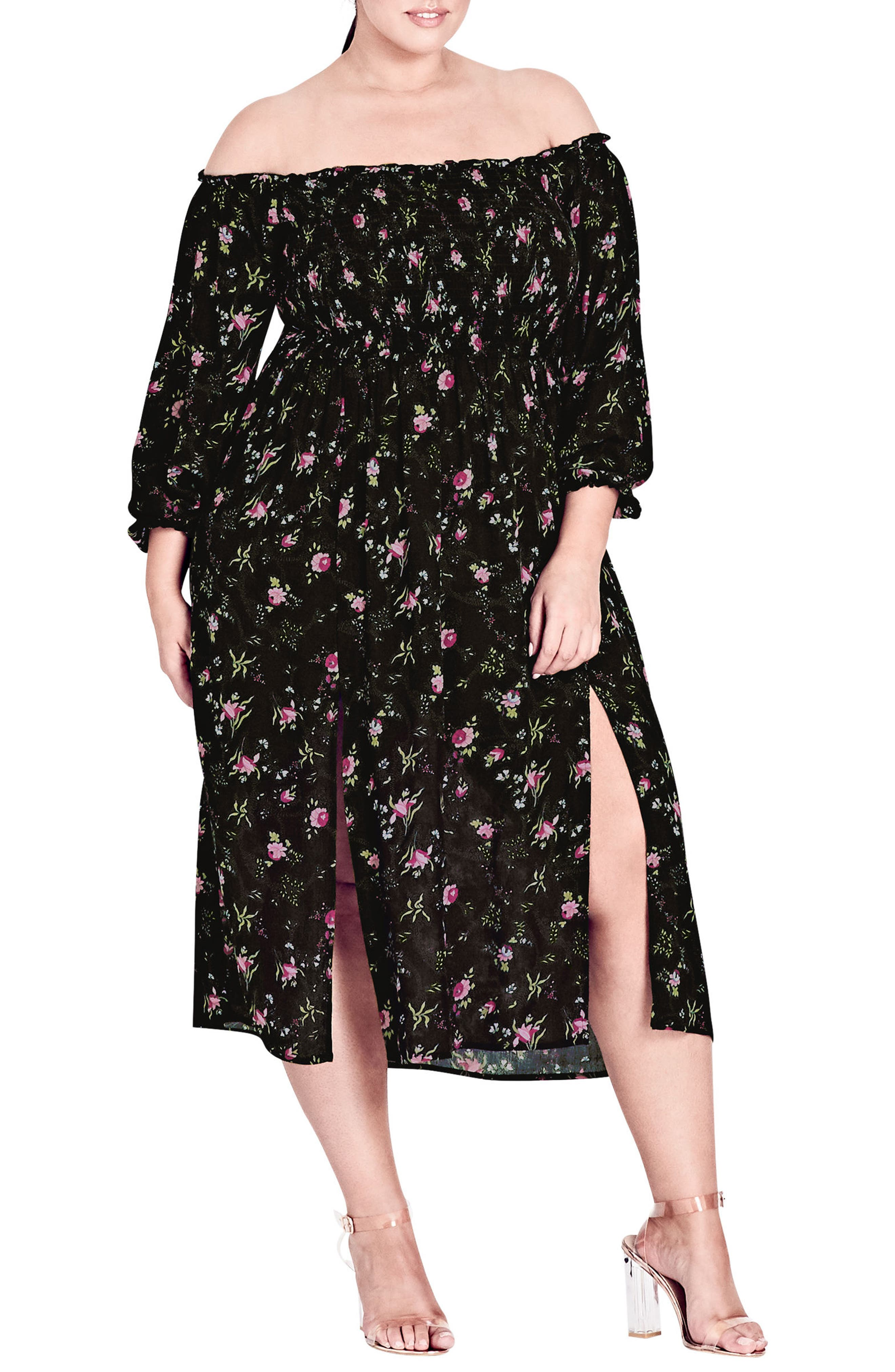 CITY CHIC,                             Garden Floral Off the Shoulder Dress,                             Main thumbnail 1, color,                             001