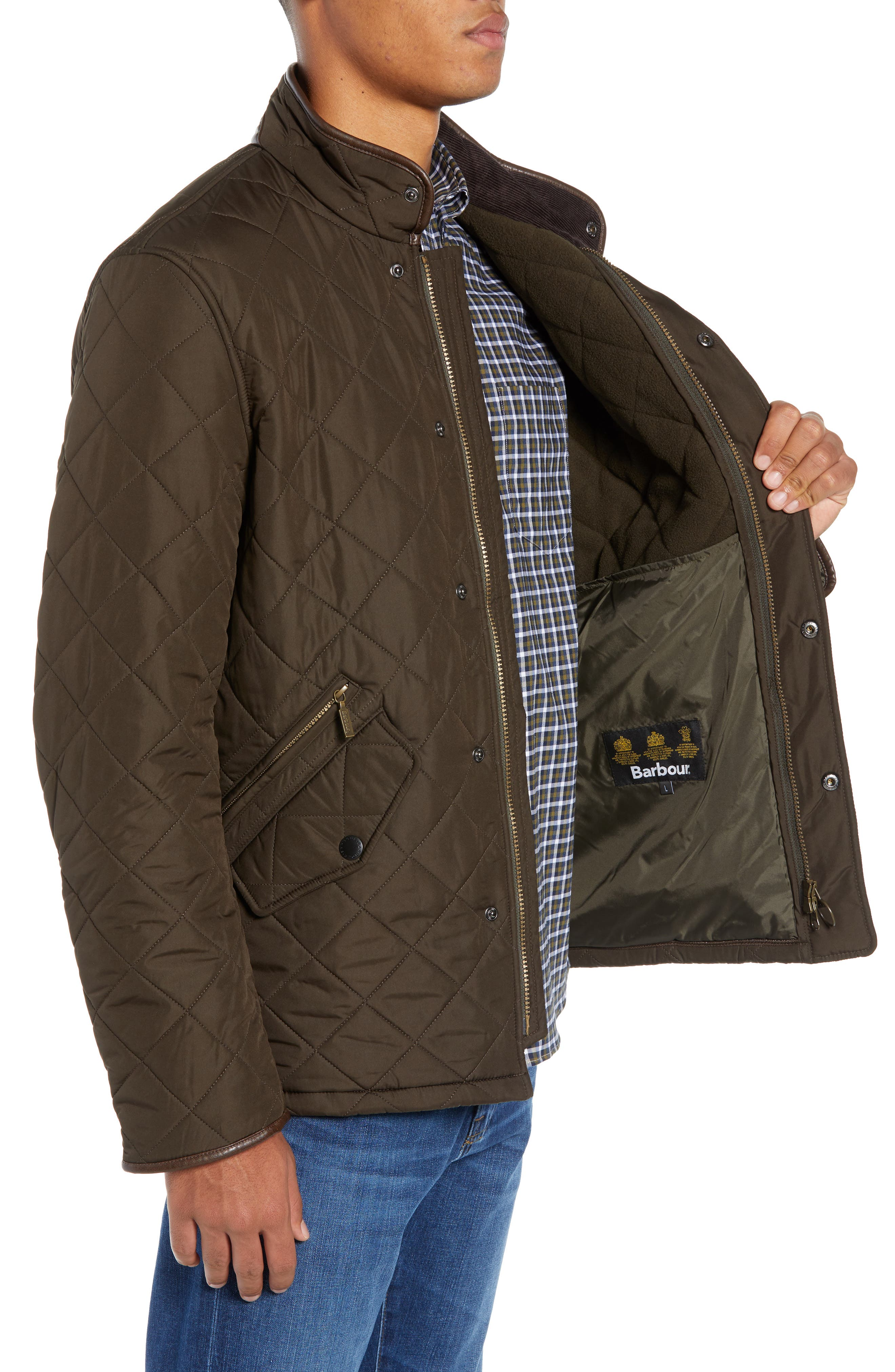 'Powell' Regular Fit Quilted Jacket,                             Alternate thumbnail 3, color,                             OLIVE