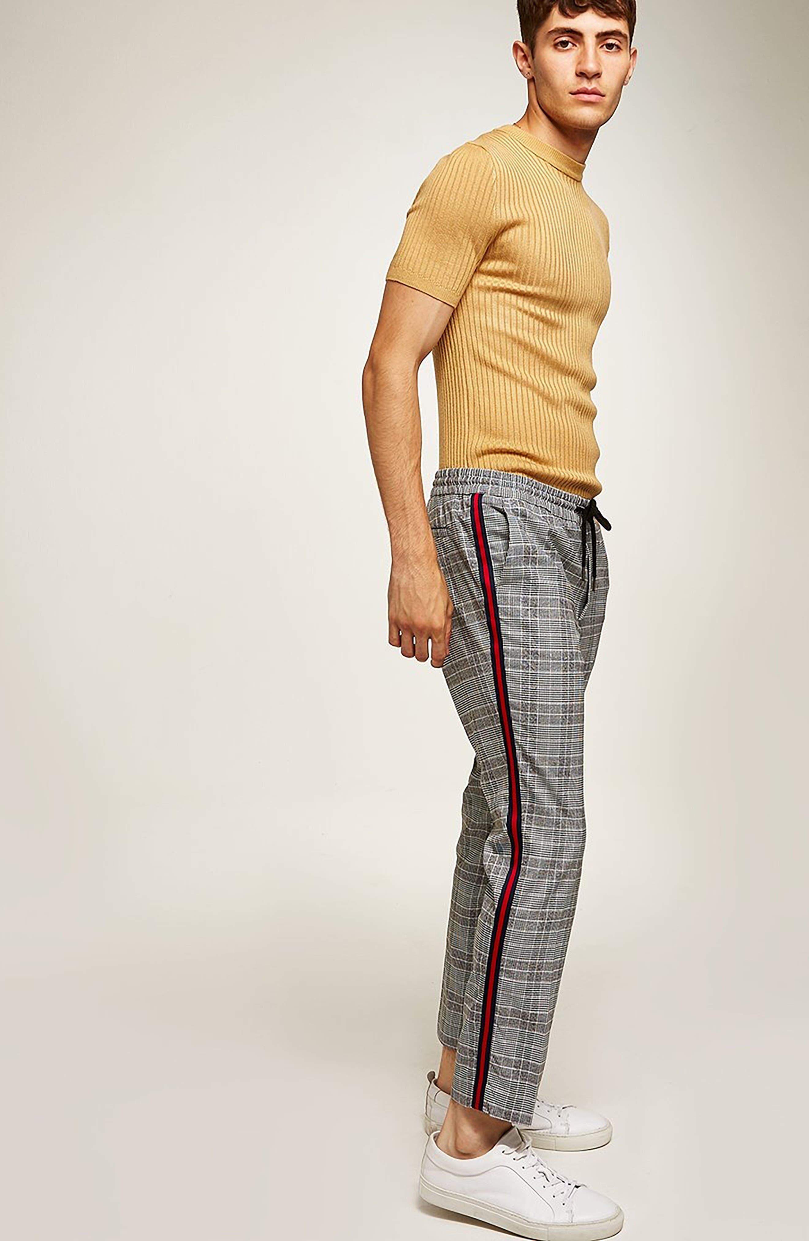 Check Side Stripe Slim Fit Joggers,                             Alternate thumbnail 5, color,                             020