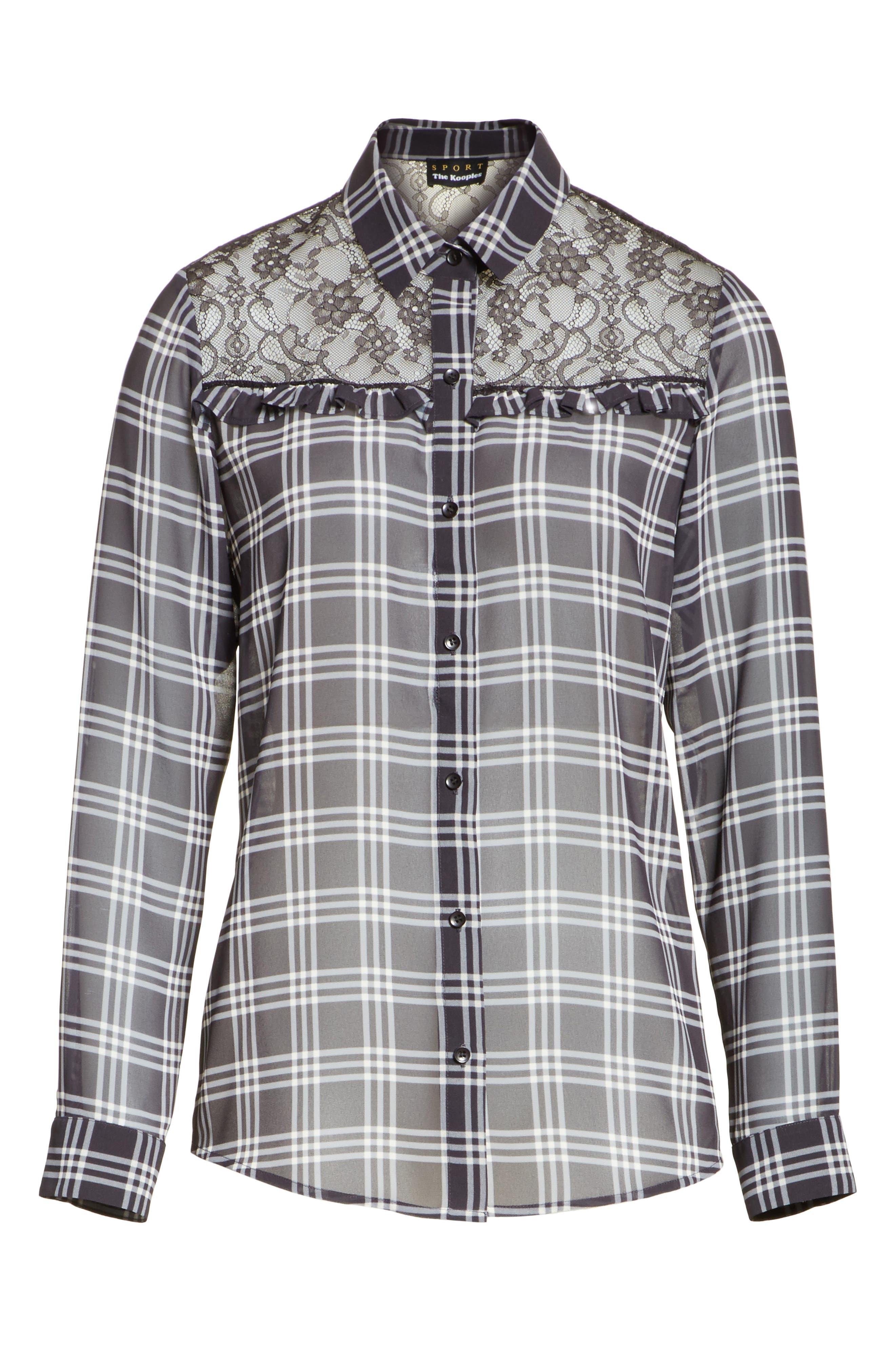 Lace Yoke Plaid Shirt,                             Alternate thumbnail 6, color,                             001