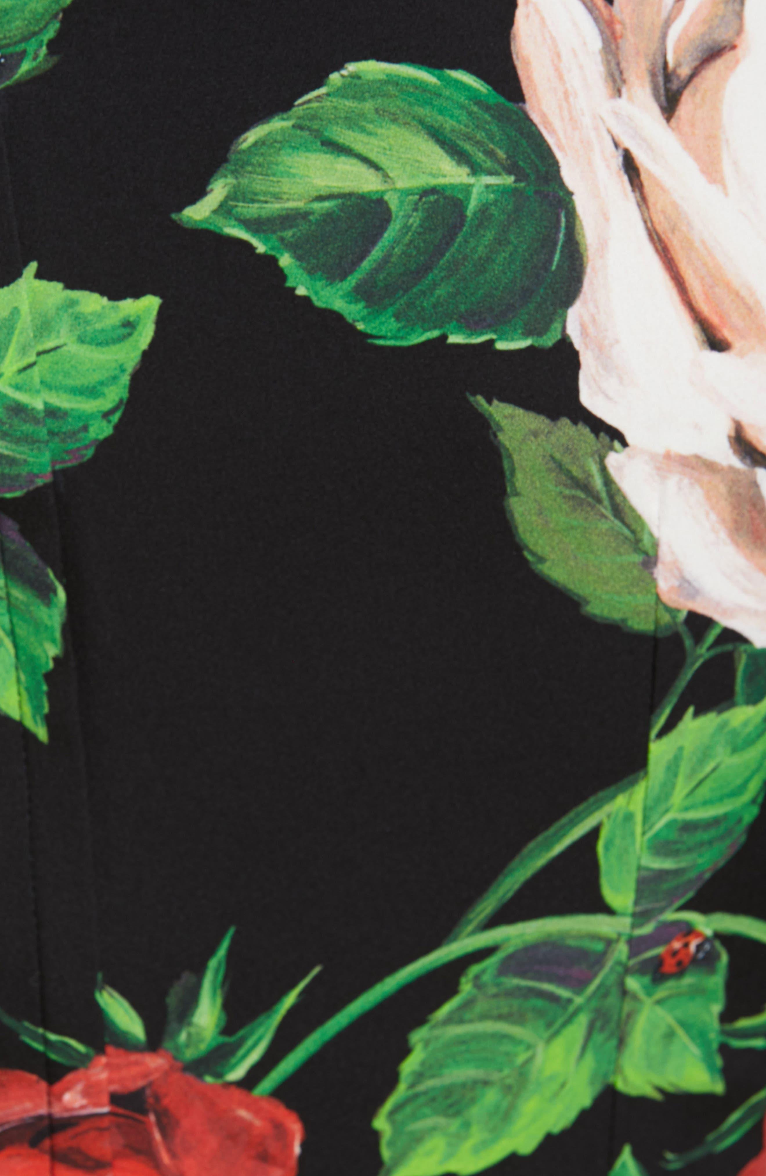 Rose Print Stretch Silk Dress,                             Alternate thumbnail 6, color,                             BLACK ROSE