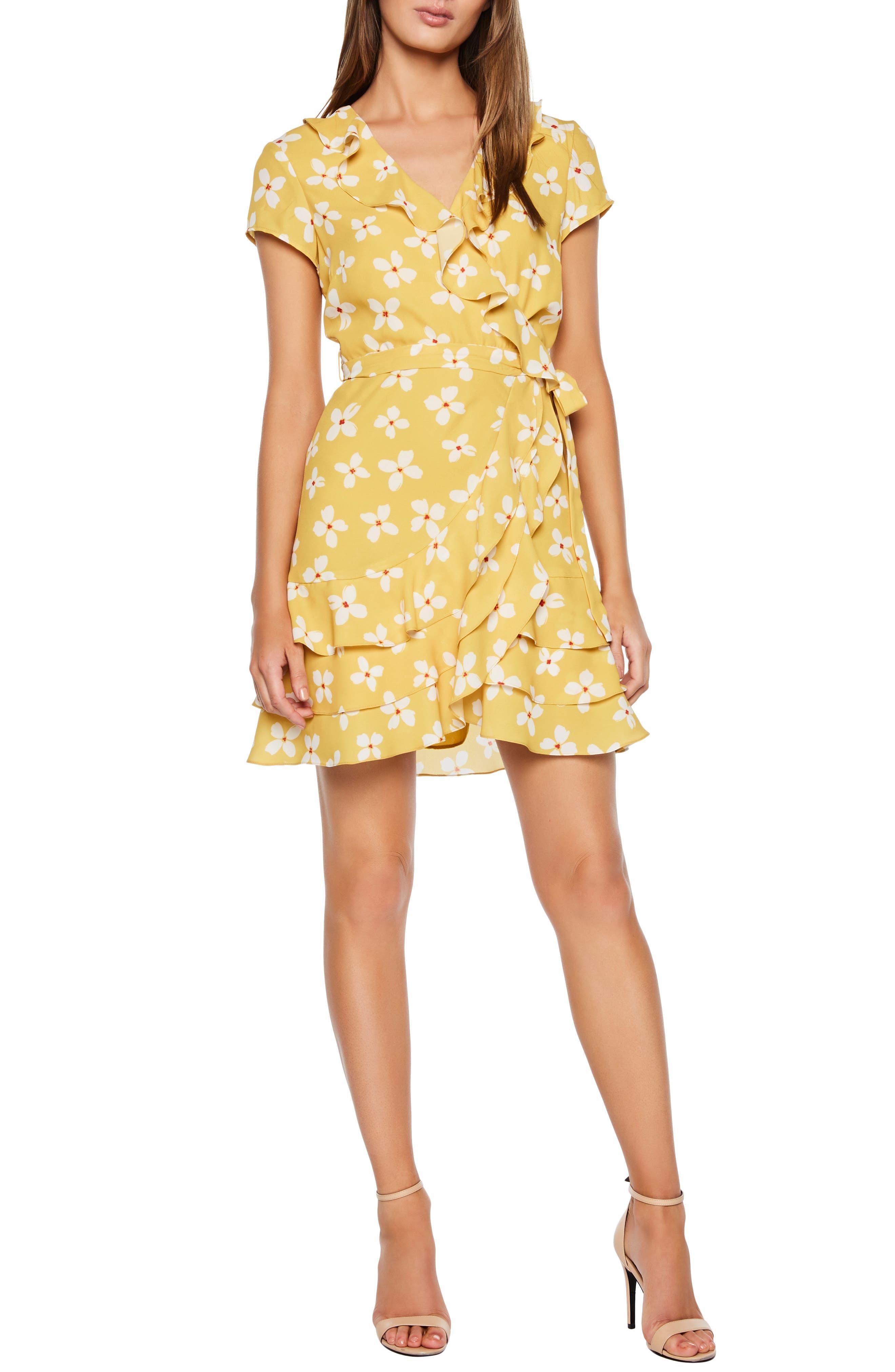 Bardot Abstract Daisy Faux Wrap Dress, Yellow