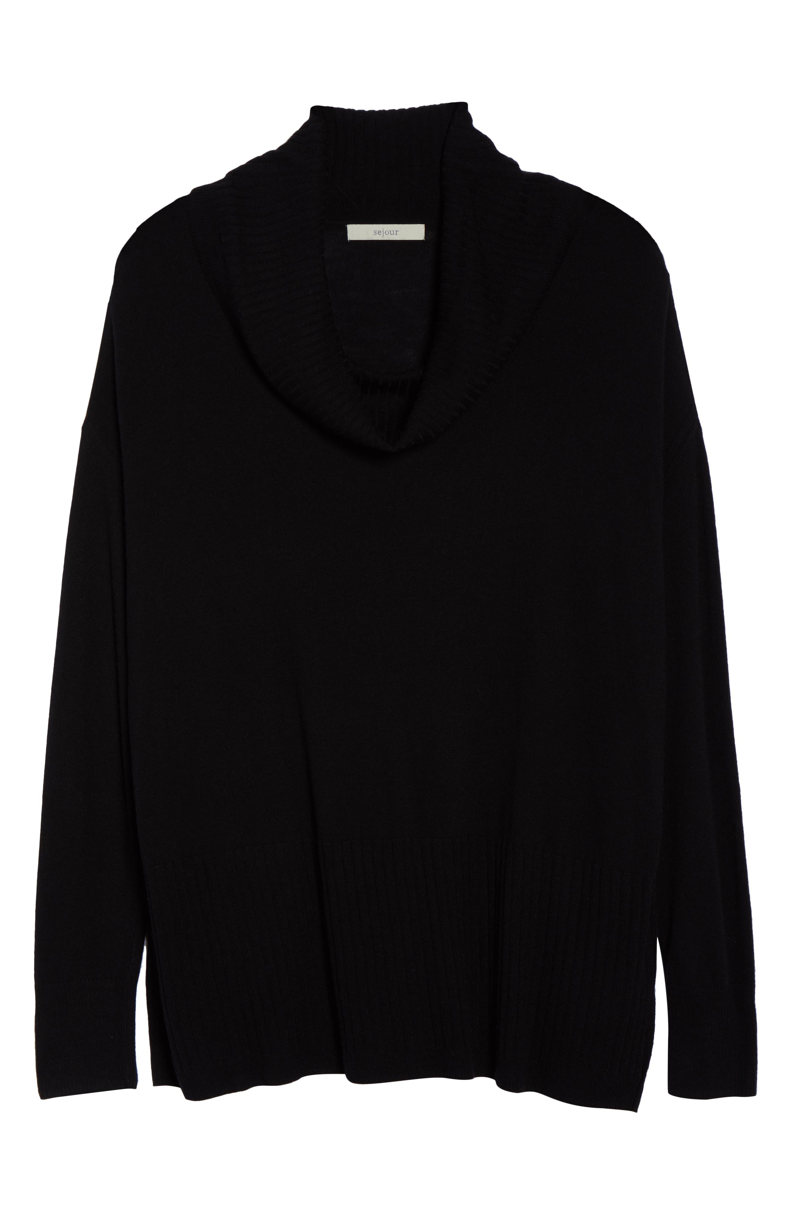 SEJOUR,                             Cowl Neck Pullover,                             Alternate thumbnail 6, color,                             BLACK