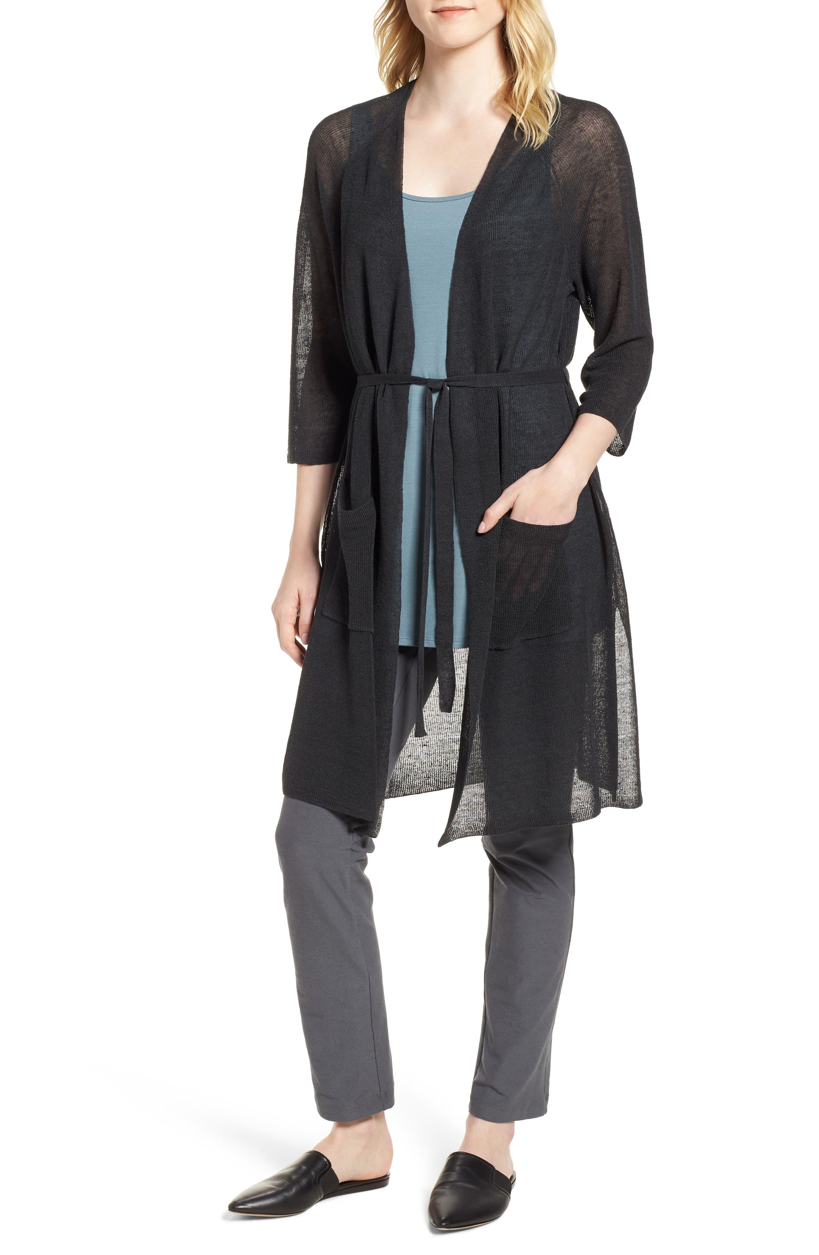 Long Organic Linen Blend Kimono Cardigan,                         Main,                         color, 025