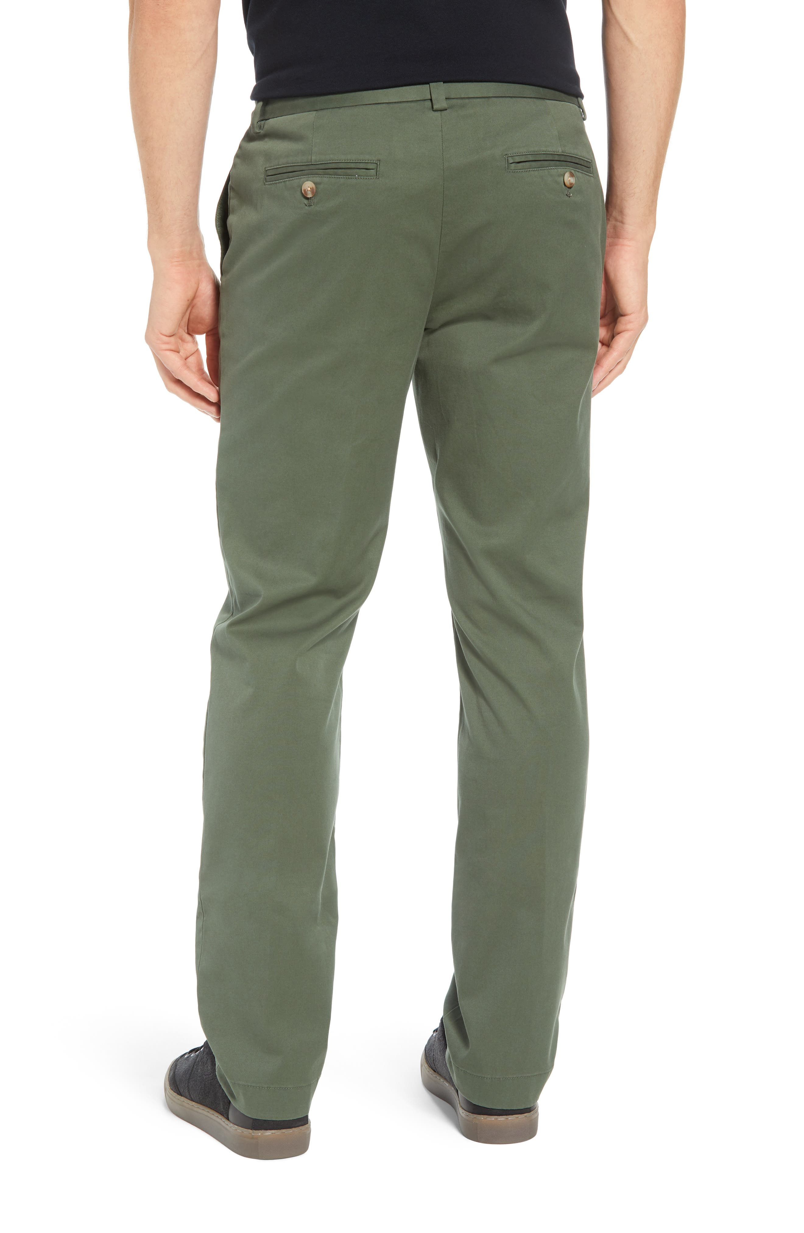 Breaker Flat Front Stretch Cotton Pants,                             Alternate thumbnail 2, color,                             CARGO GREEN