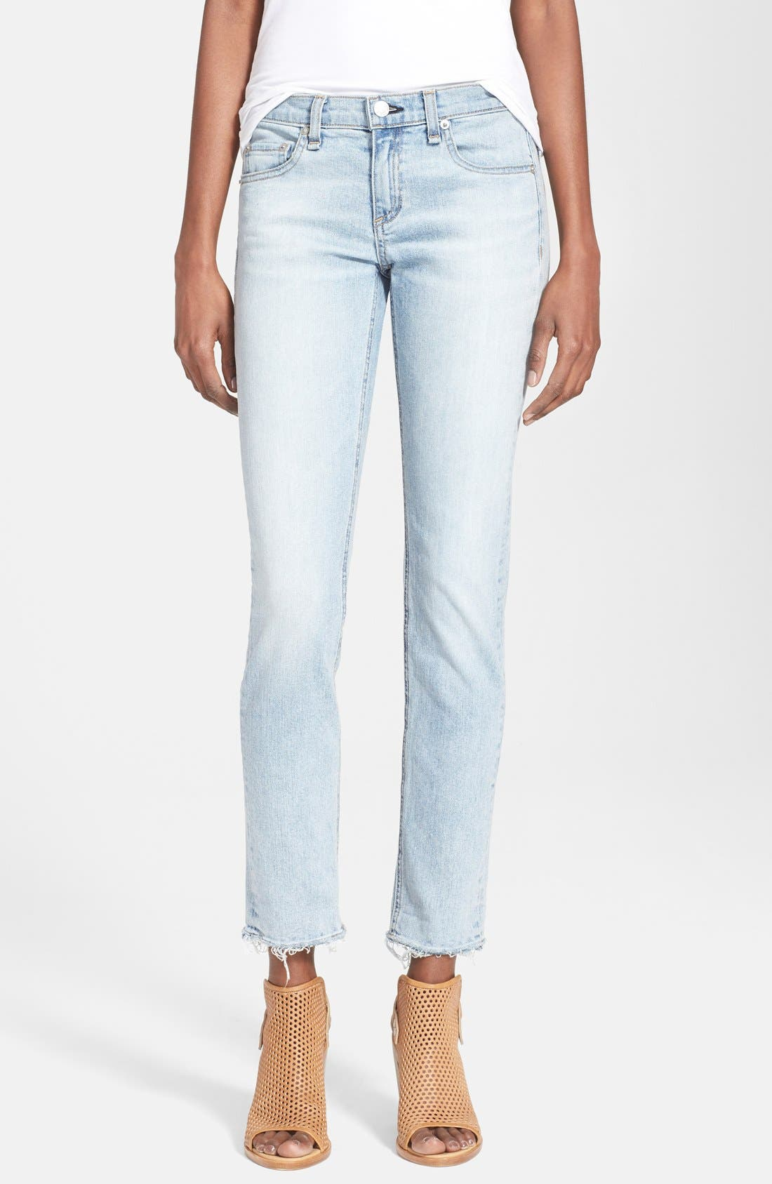 RAG & BONE JEAN 'Dre' Frayed Hem Ankle Jeans, Main, color, 456