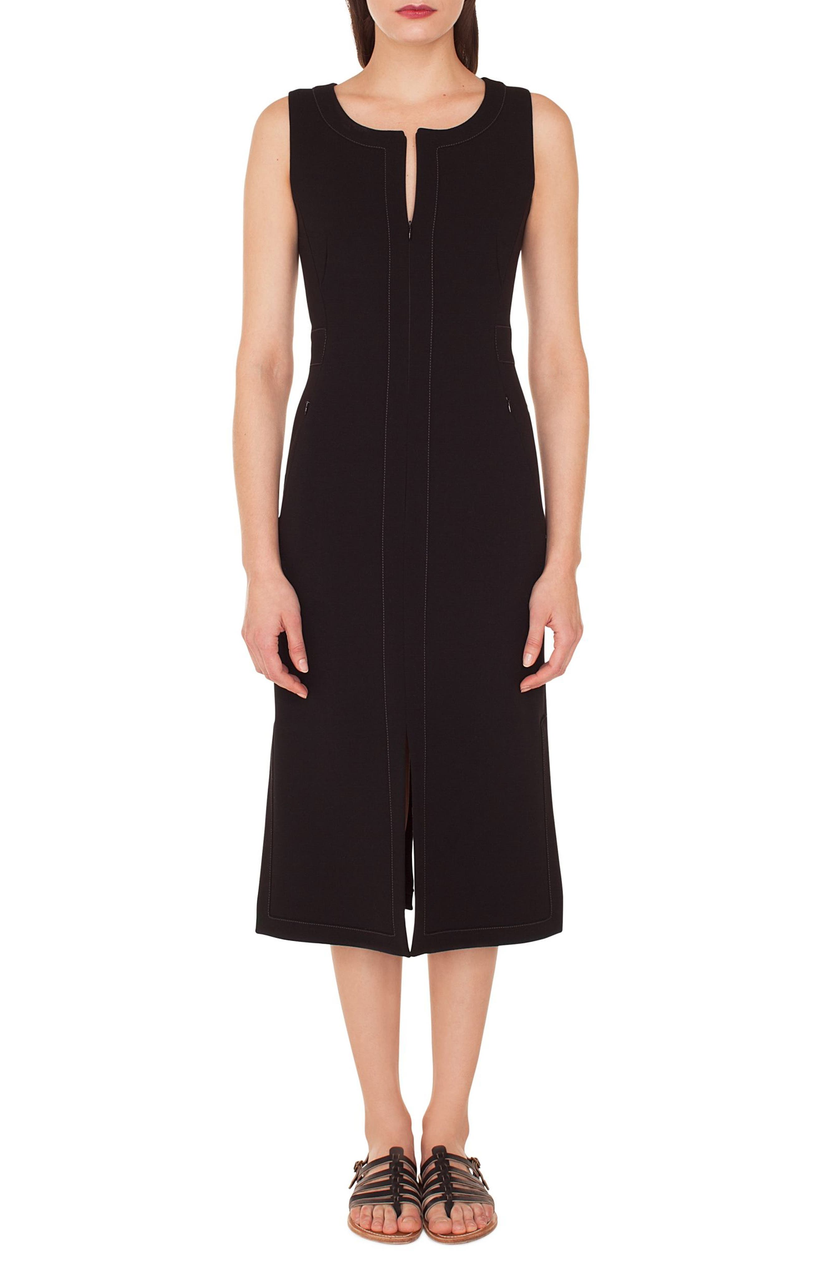 Topstitch Double Face Stretch Wool Dress,                             Main thumbnail 1, color,                             BLACK